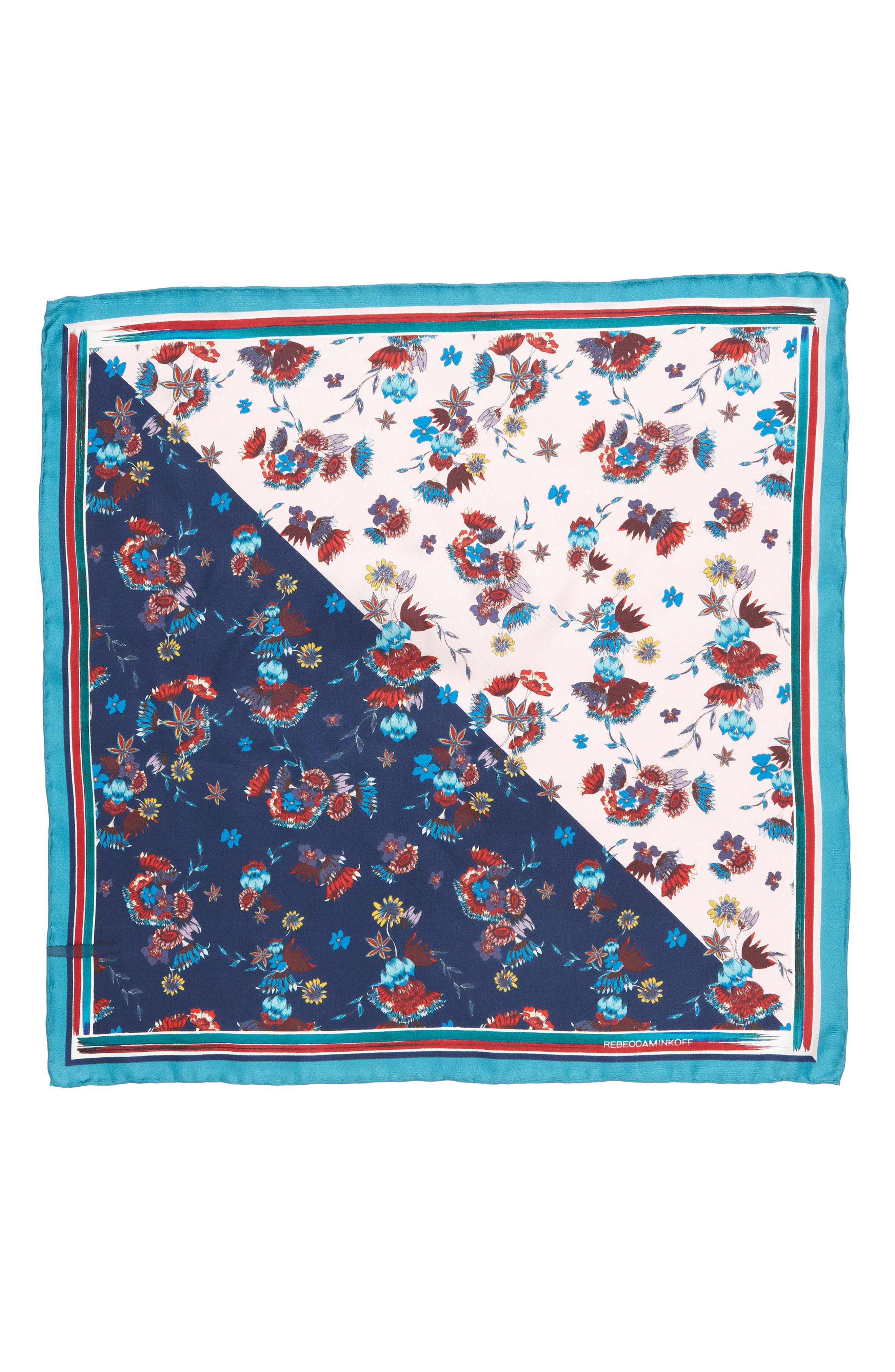 Pressed Floral Silk Bandana,                             Alternate thumbnail 3, color,                             PINK