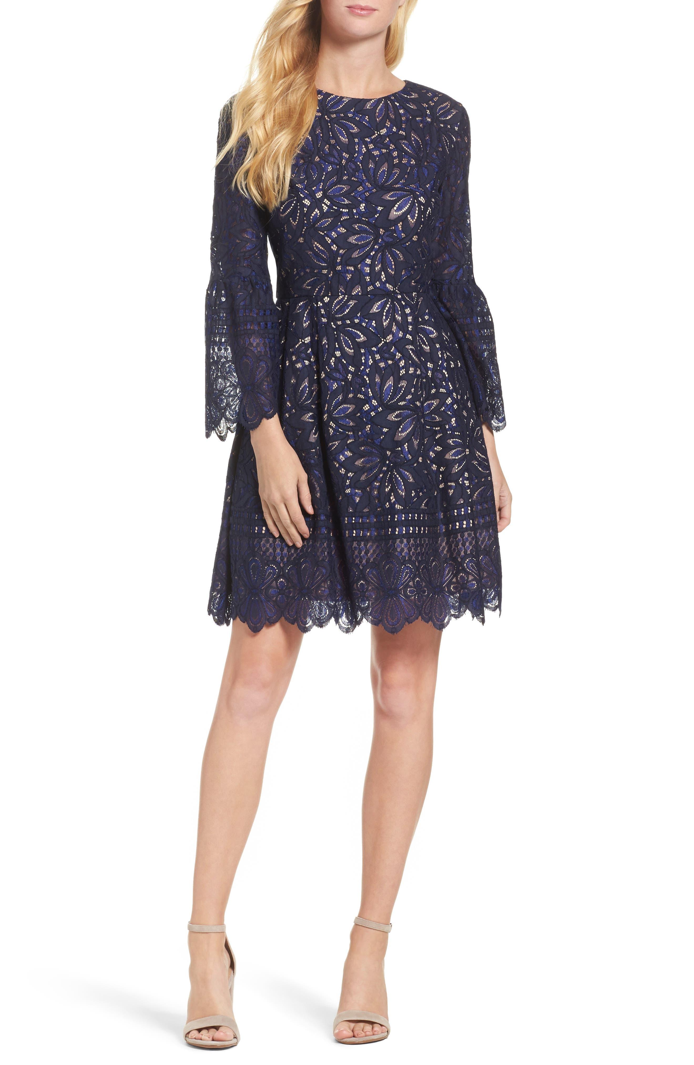 Eliza J Lace Bell Sleeve Fit & Flare Lace Dress, Blue