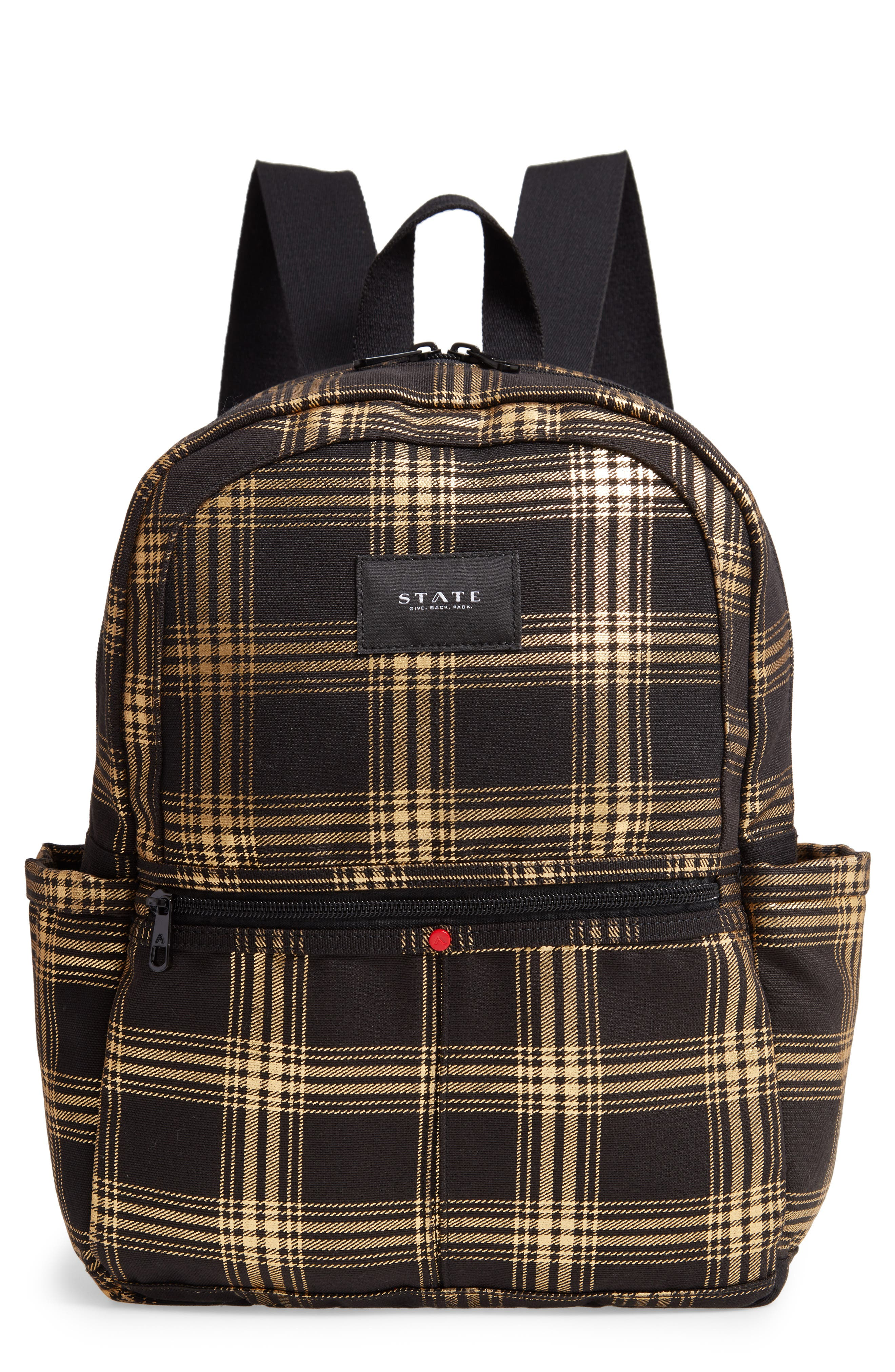 STATE Kane Metallic Plaid Backpack - Black