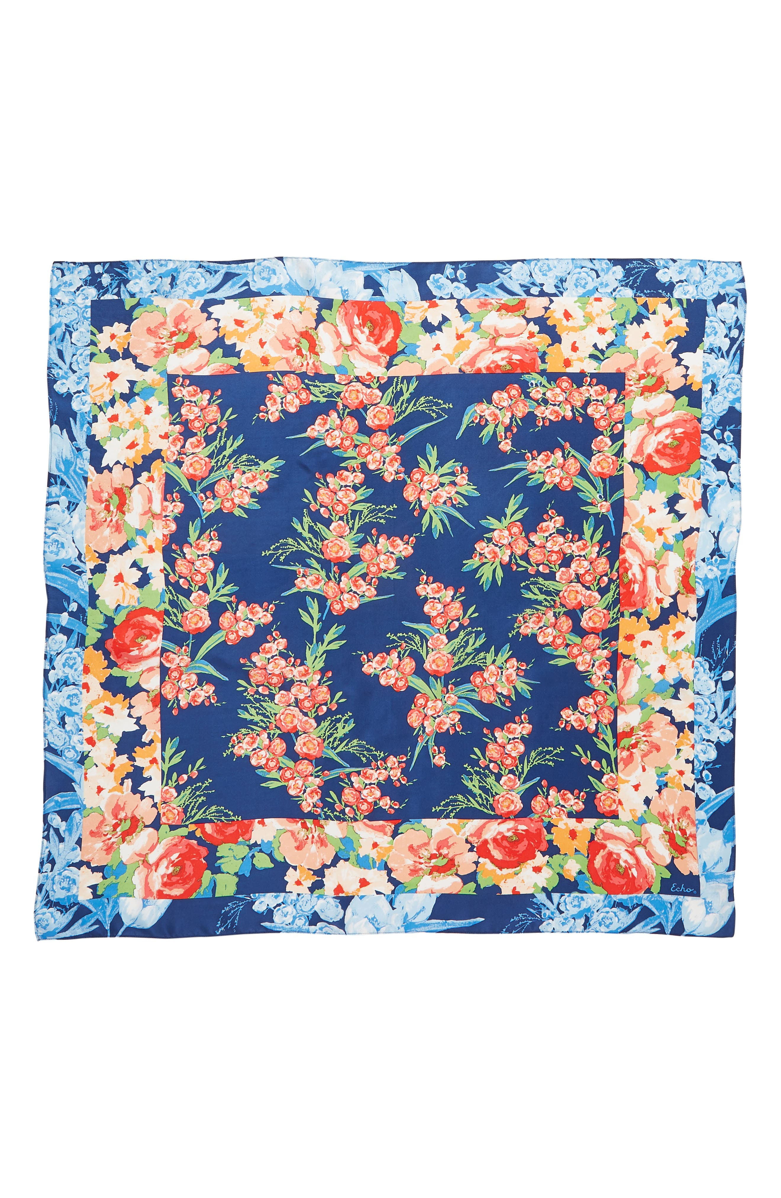 Airlie Beach Floral Silk Square Scarf,                             Alternate thumbnail 3, color,                             NAVY