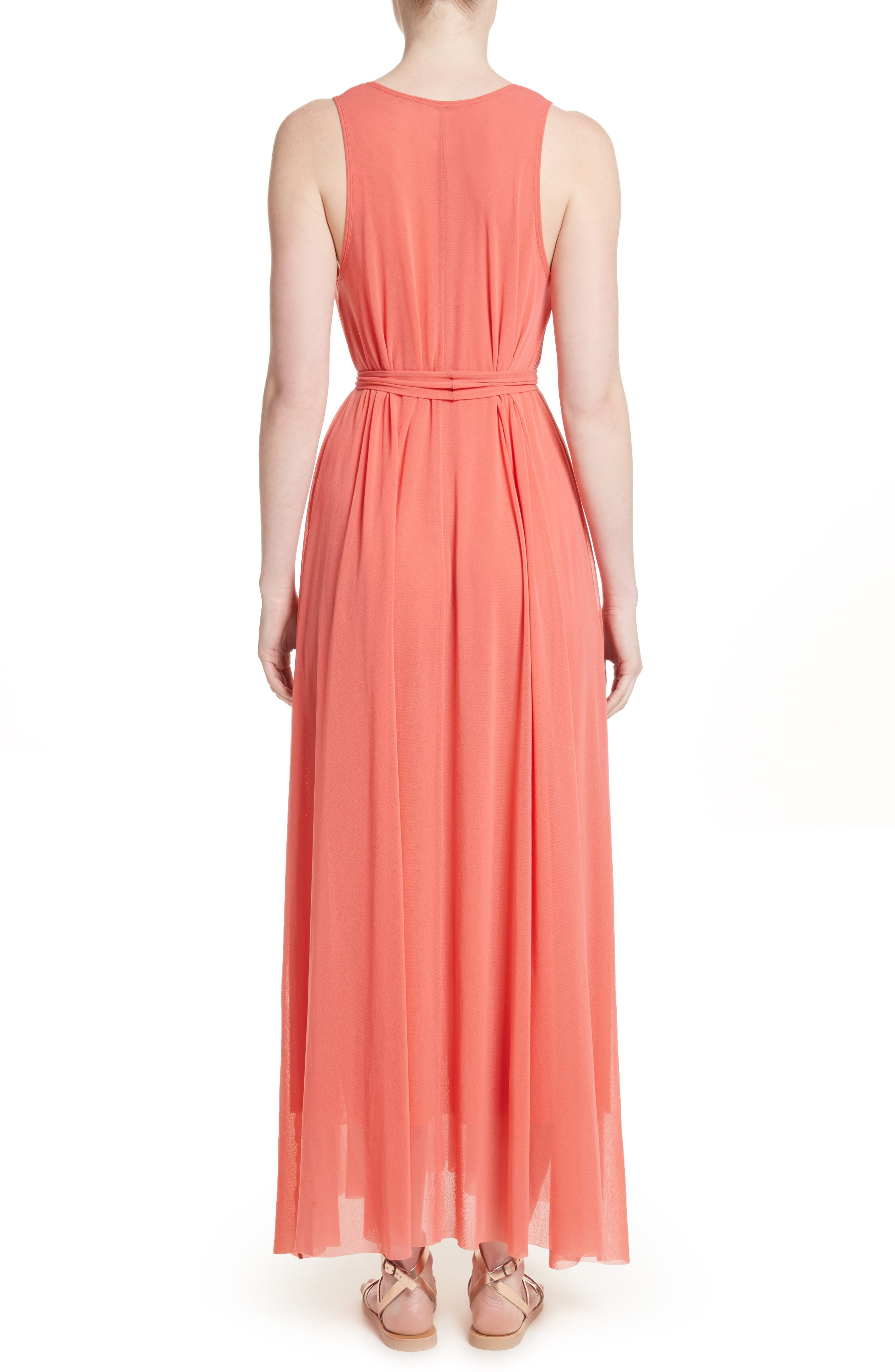 Belted Tulle Maxi Dress,                             Alternate thumbnail 4, color,