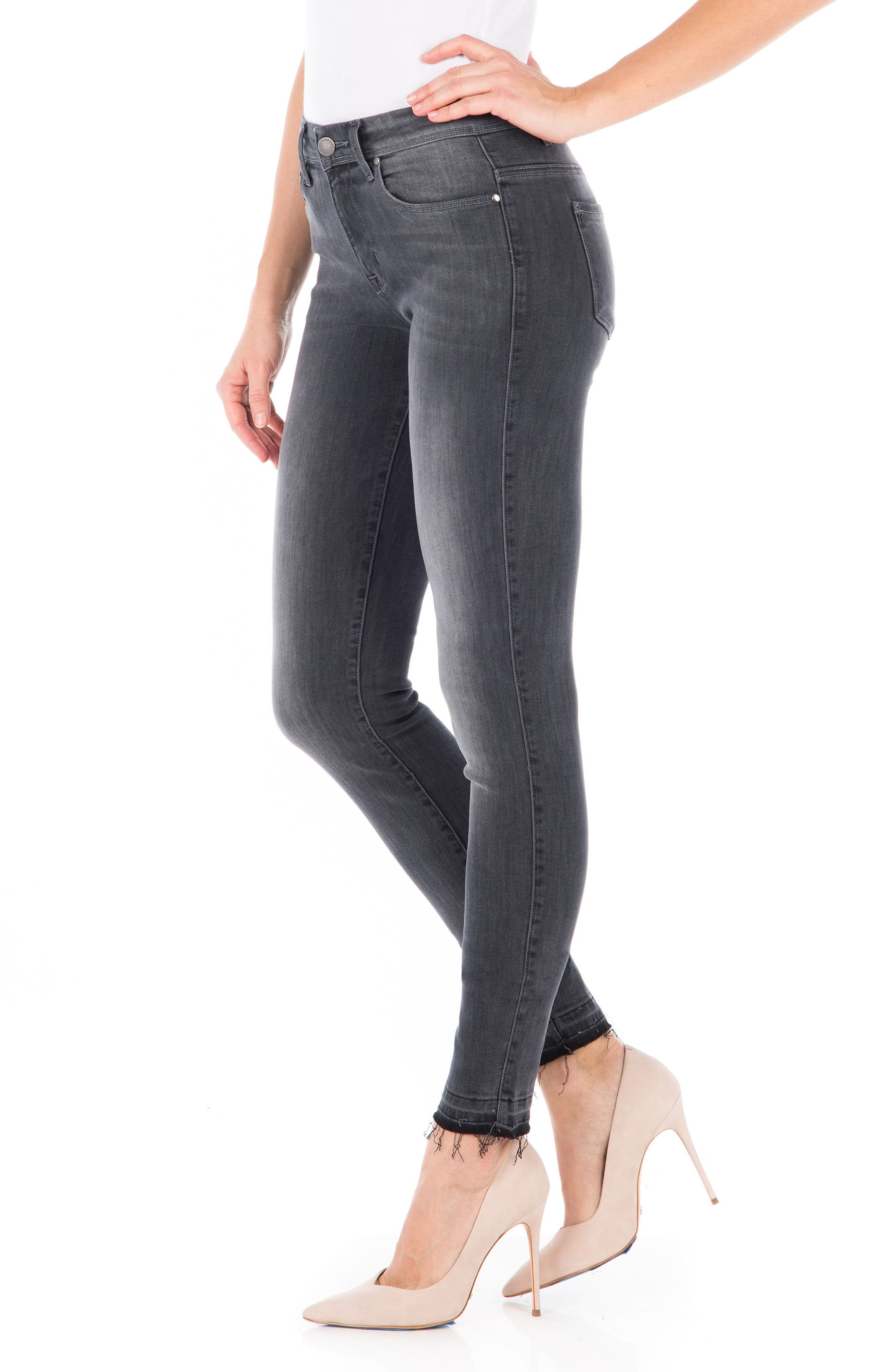 Gwen High Waist Skinny Jeans,                             Alternate thumbnail 3, color,                             001