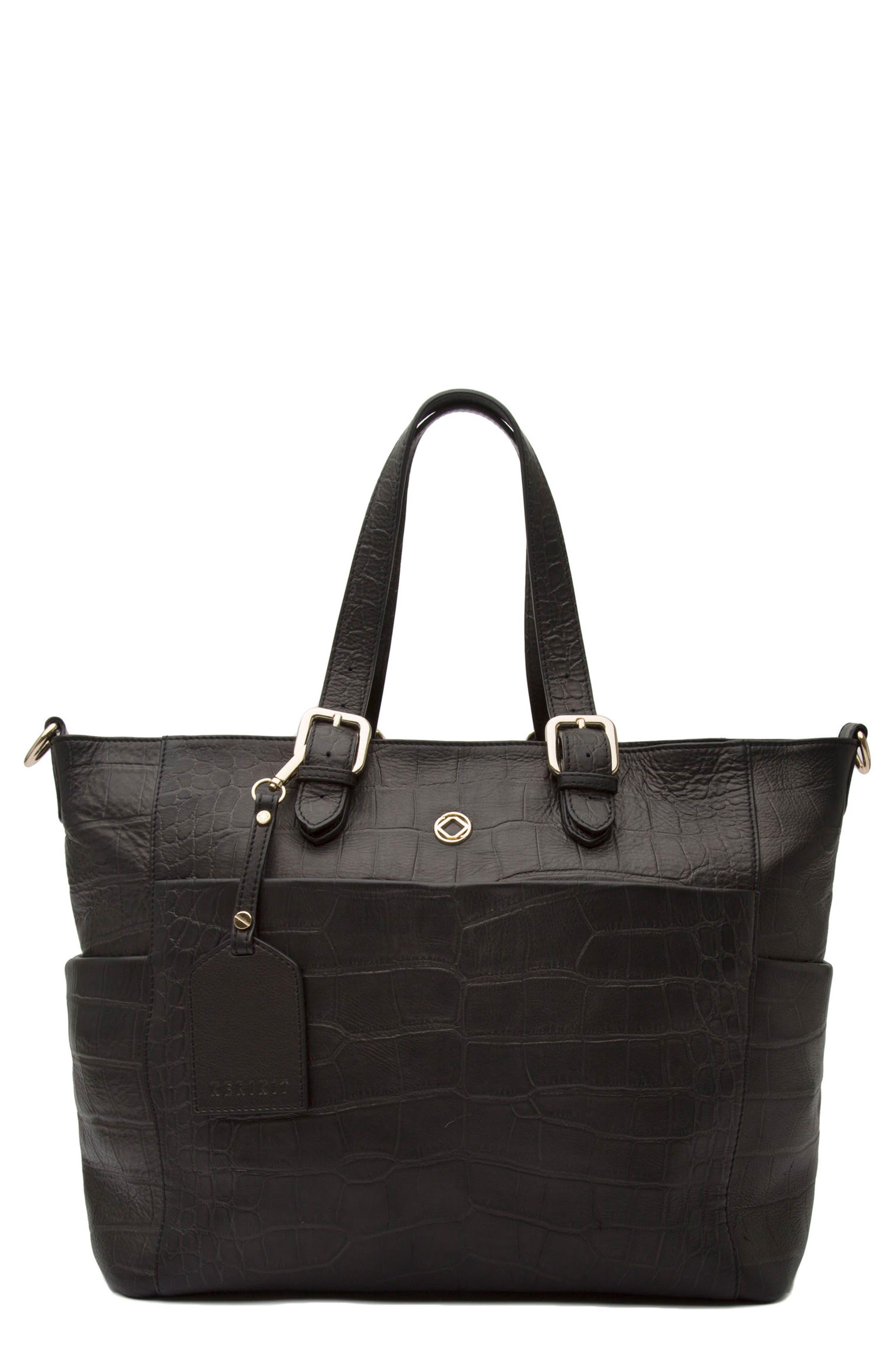 Francis Croc Embossed Leather Diaper Bag,                             Main thumbnail 1, color,                             001