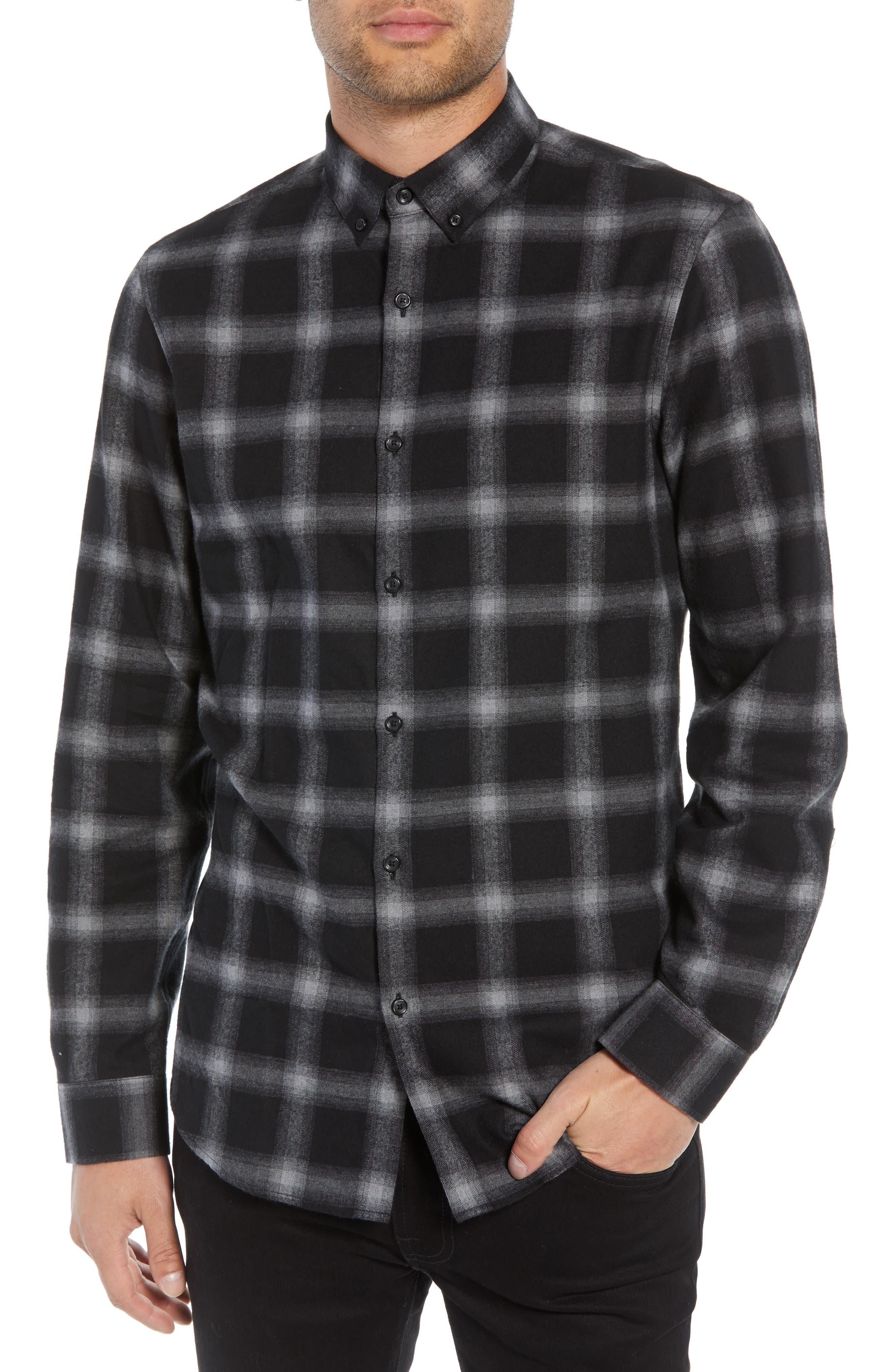 Slim Fit Mini Collar Plaid Flannel Sport Shirt,                         Main,                         color, GREY BLACK SHADOW PLAID