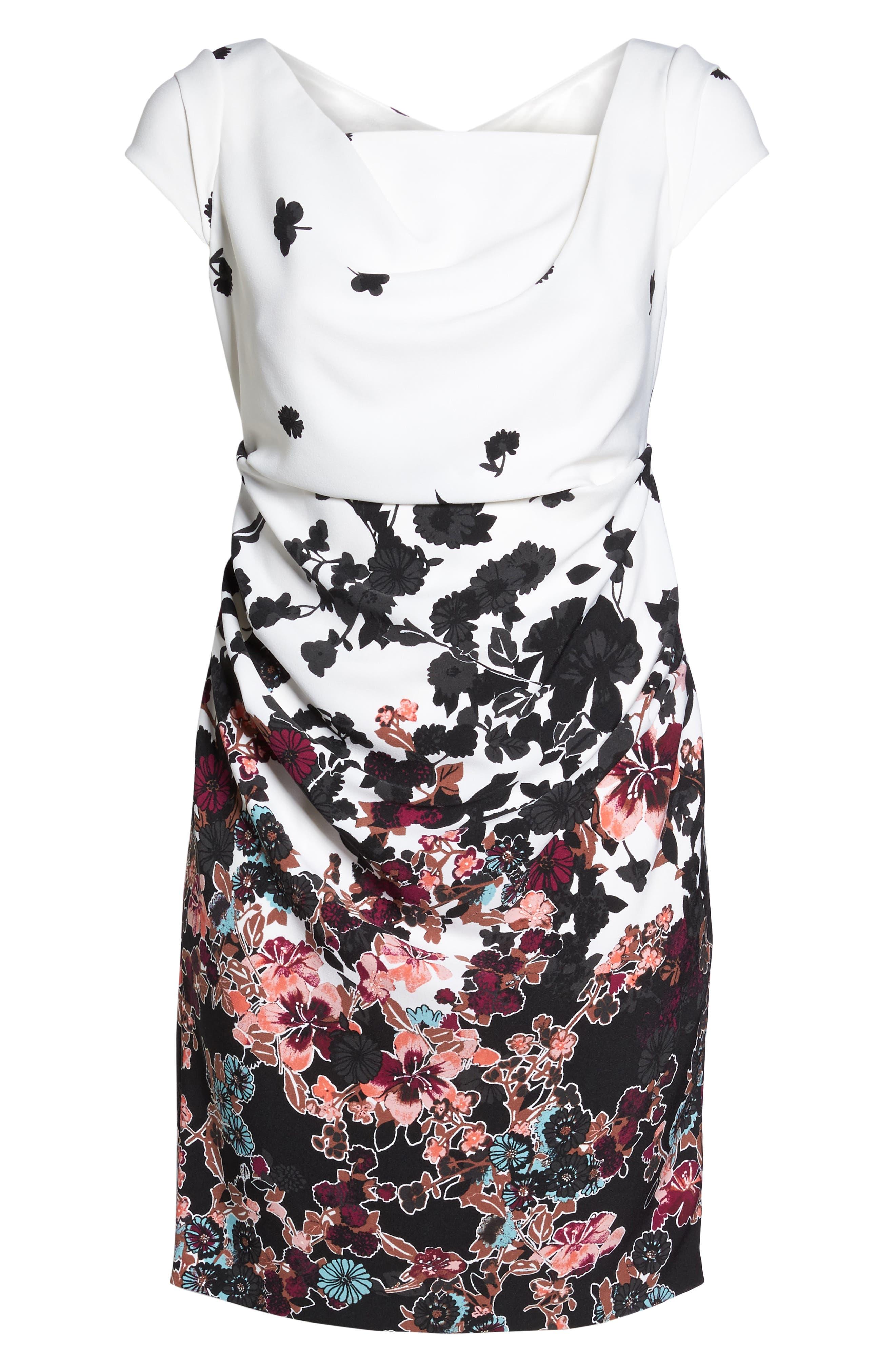 Floral Bliss Draped Sheath Dress,                             Alternate thumbnail 6, color,                             900