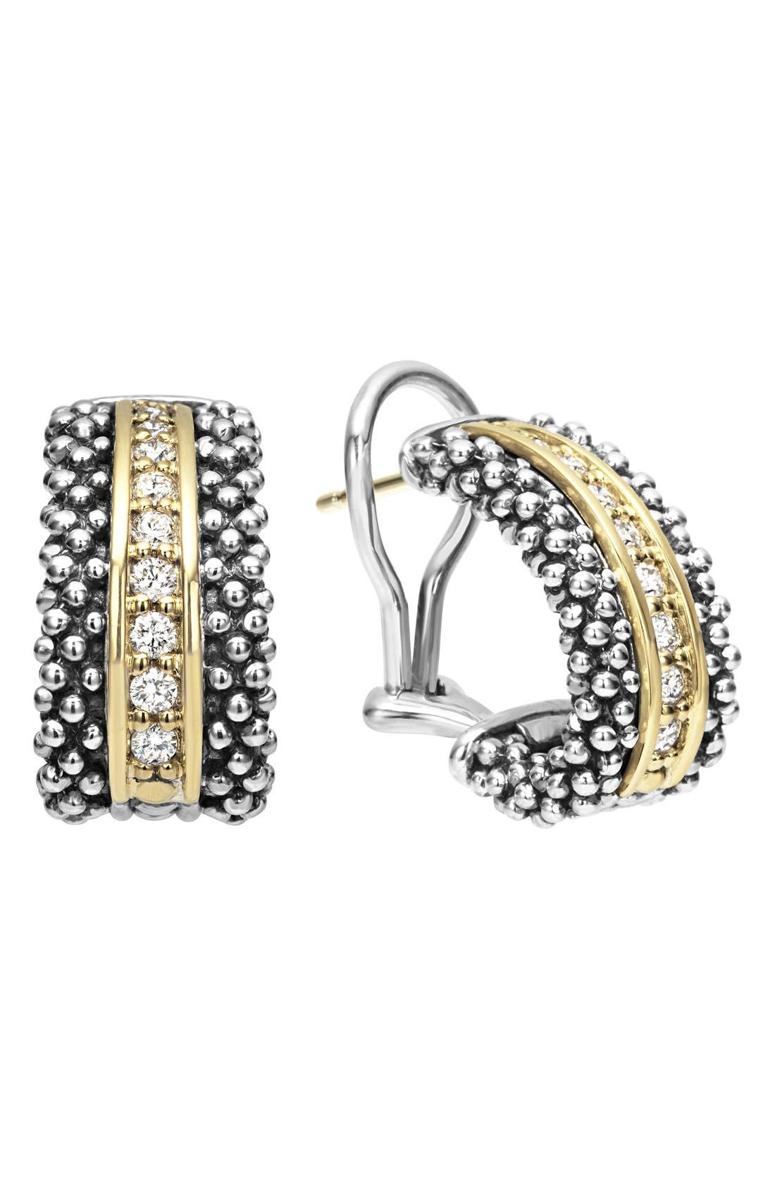 LAGOS,                             'Caviar' Diamond Hoop Earrings,                             Main thumbnail 1, color,                             SILVER/ GOLD