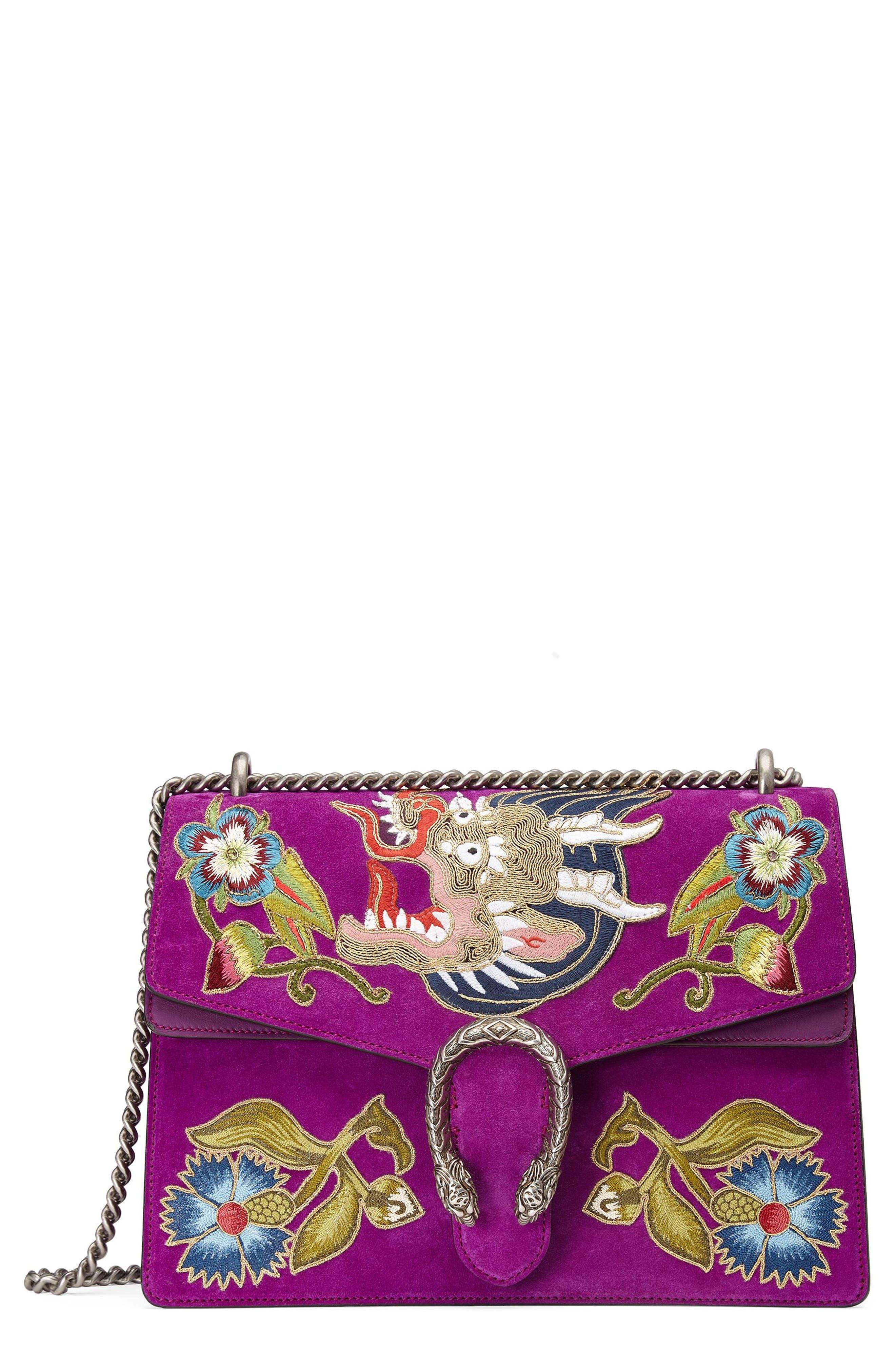 Dionysus Suede Shoulder Bag,                         Main,                         color, PURPLE/MULTI