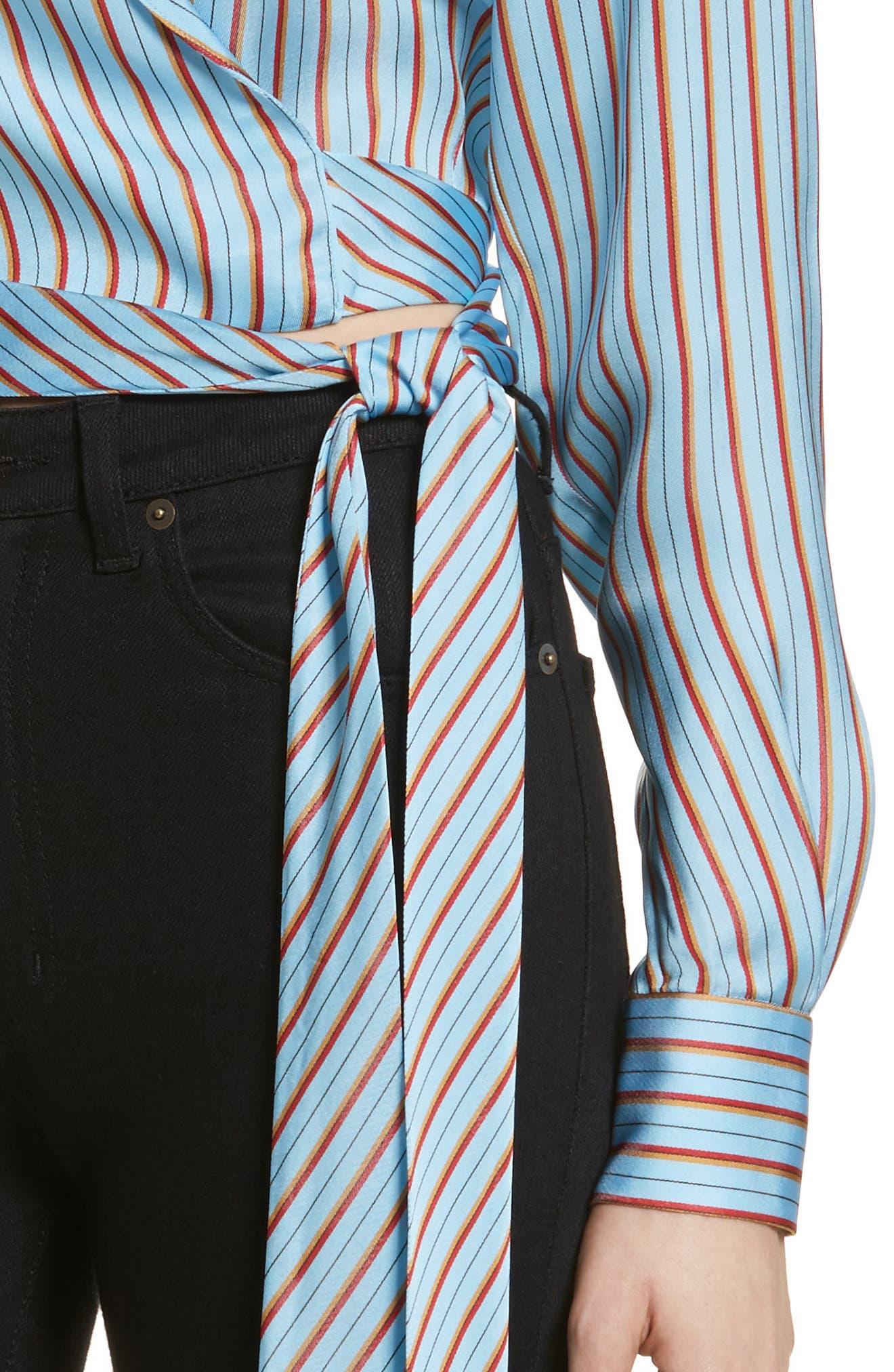 Diane von Furstenberg Stripe Wrap Top,                             Alternate thumbnail 4, color,                             477