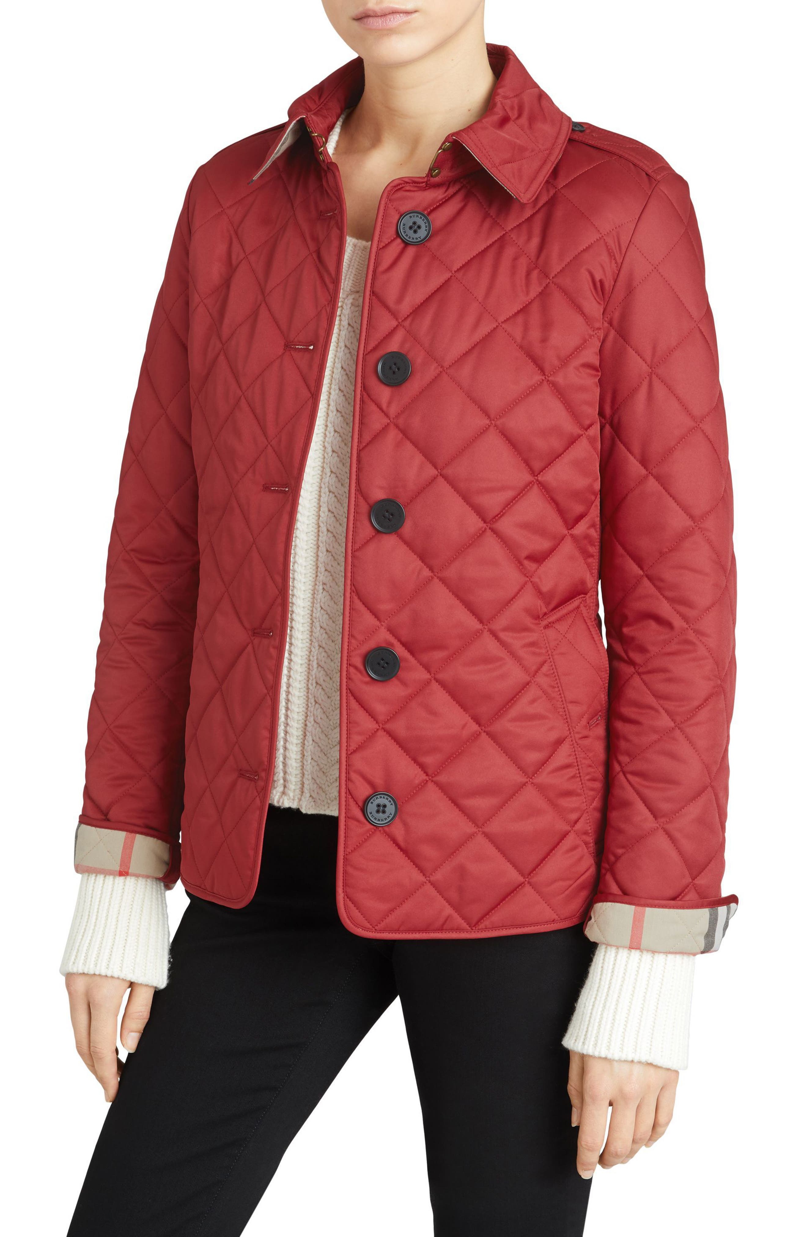 Frankby Quilted Jacket,                         Main,                         color, PARADE RED