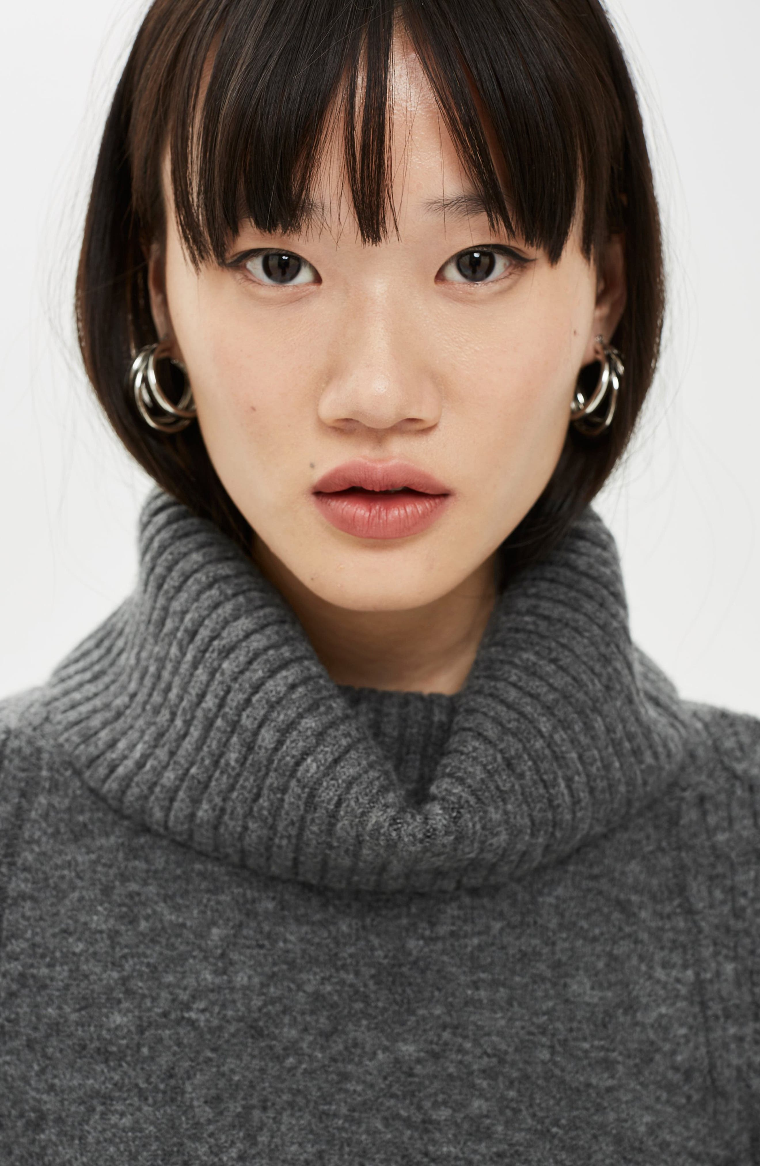 TOPSHOP,                             Turtleneck Sweater,                             Alternate thumbnail 4, color,                             CHARCOAL