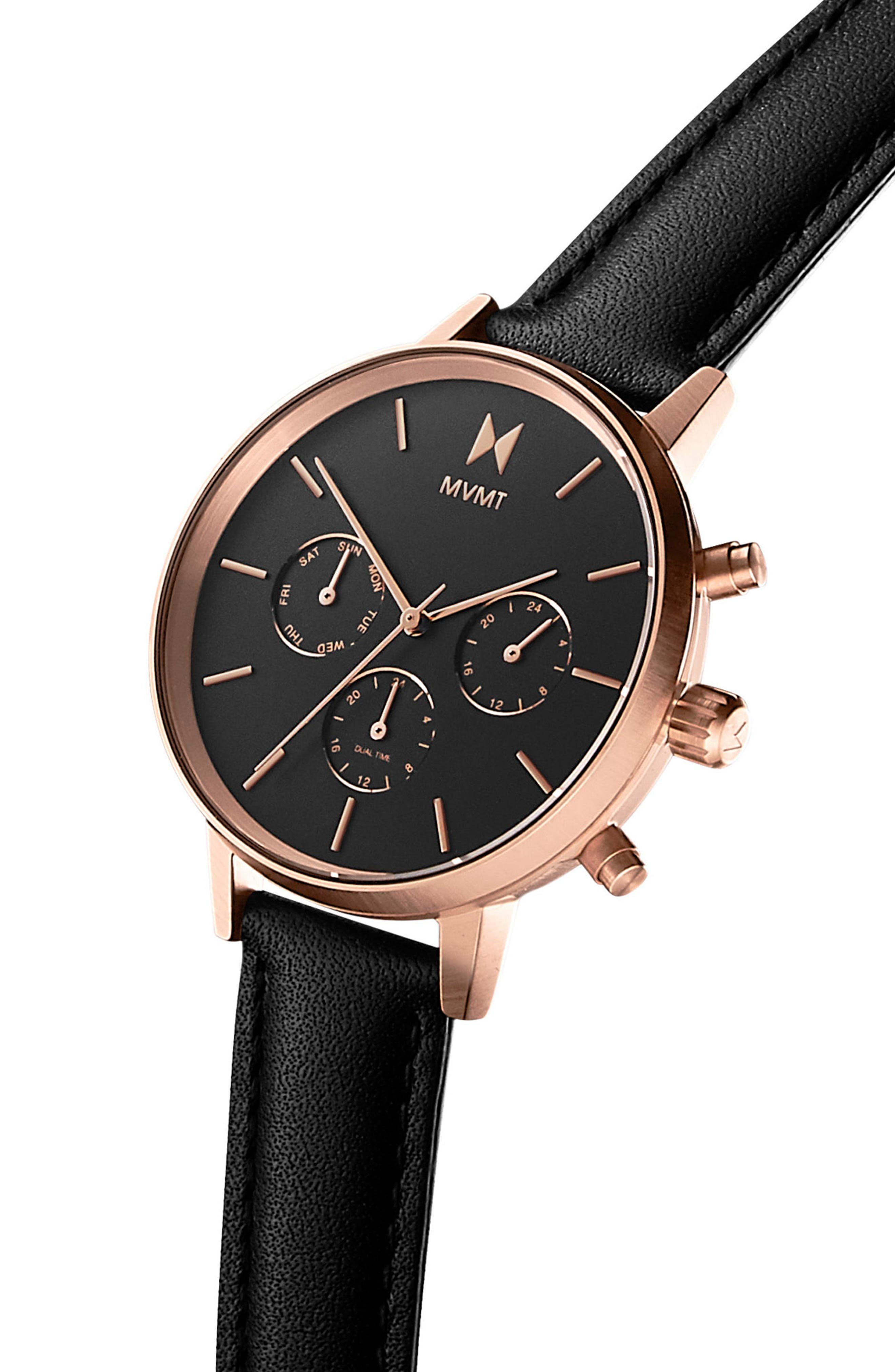 Nova Chronograph Leather Strap Watch, 38mm,                             Alternate thumbnail 3, color,                             BLACK/ ROSE GOLD