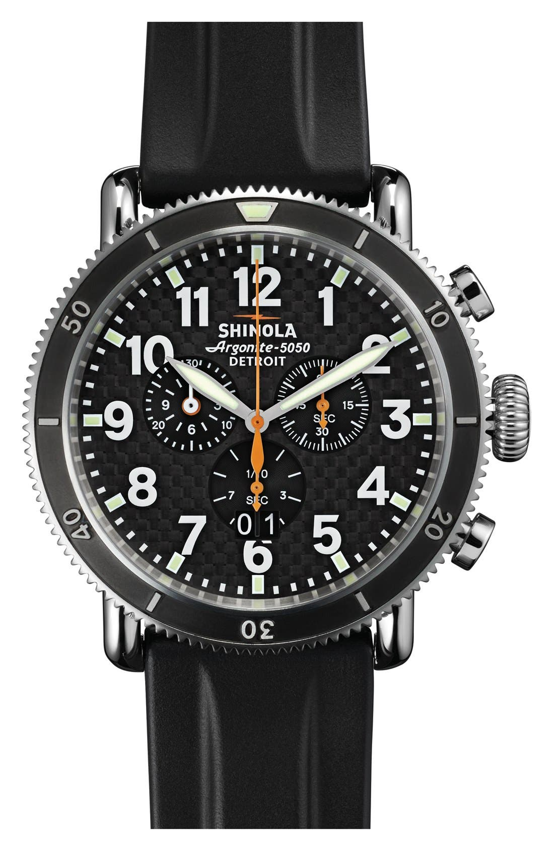 'The Runwell' Chronograph Rubber Strap Watch, 48mm, Main, color, BLACK