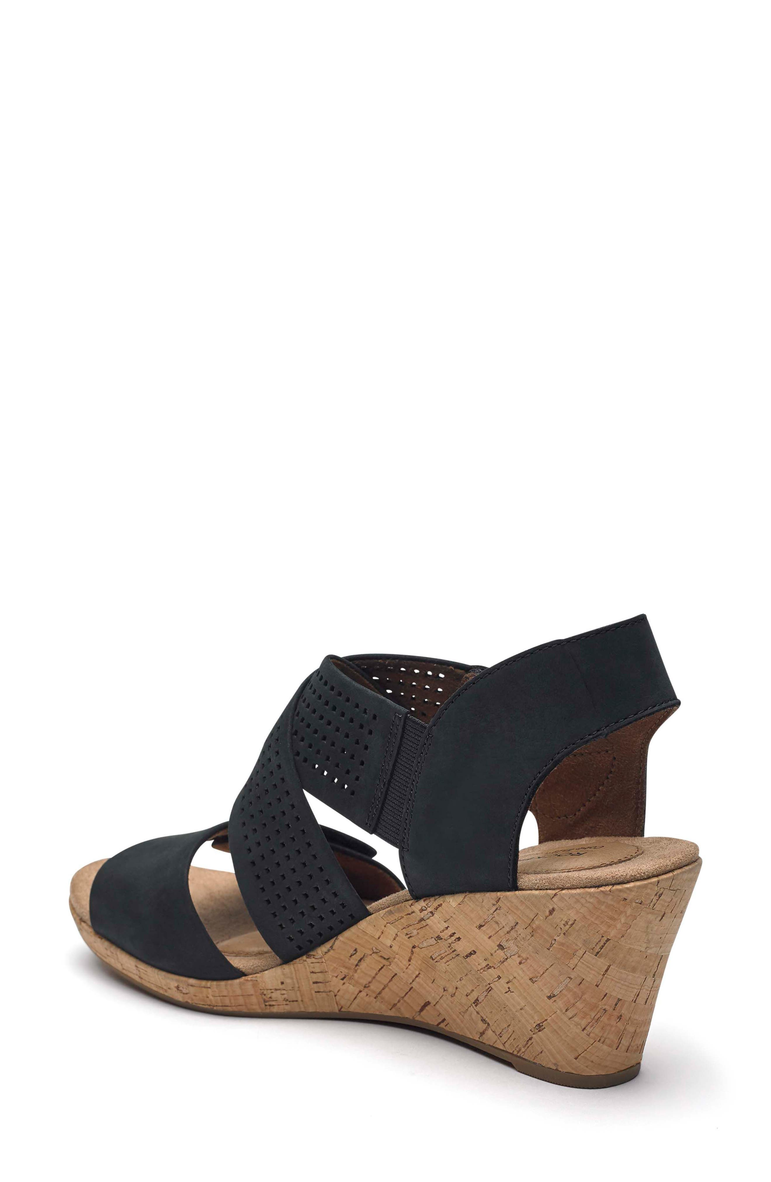 Janna Cross Strap Wedge Sandal,                             Alternate thumbnail 2, color,                             001