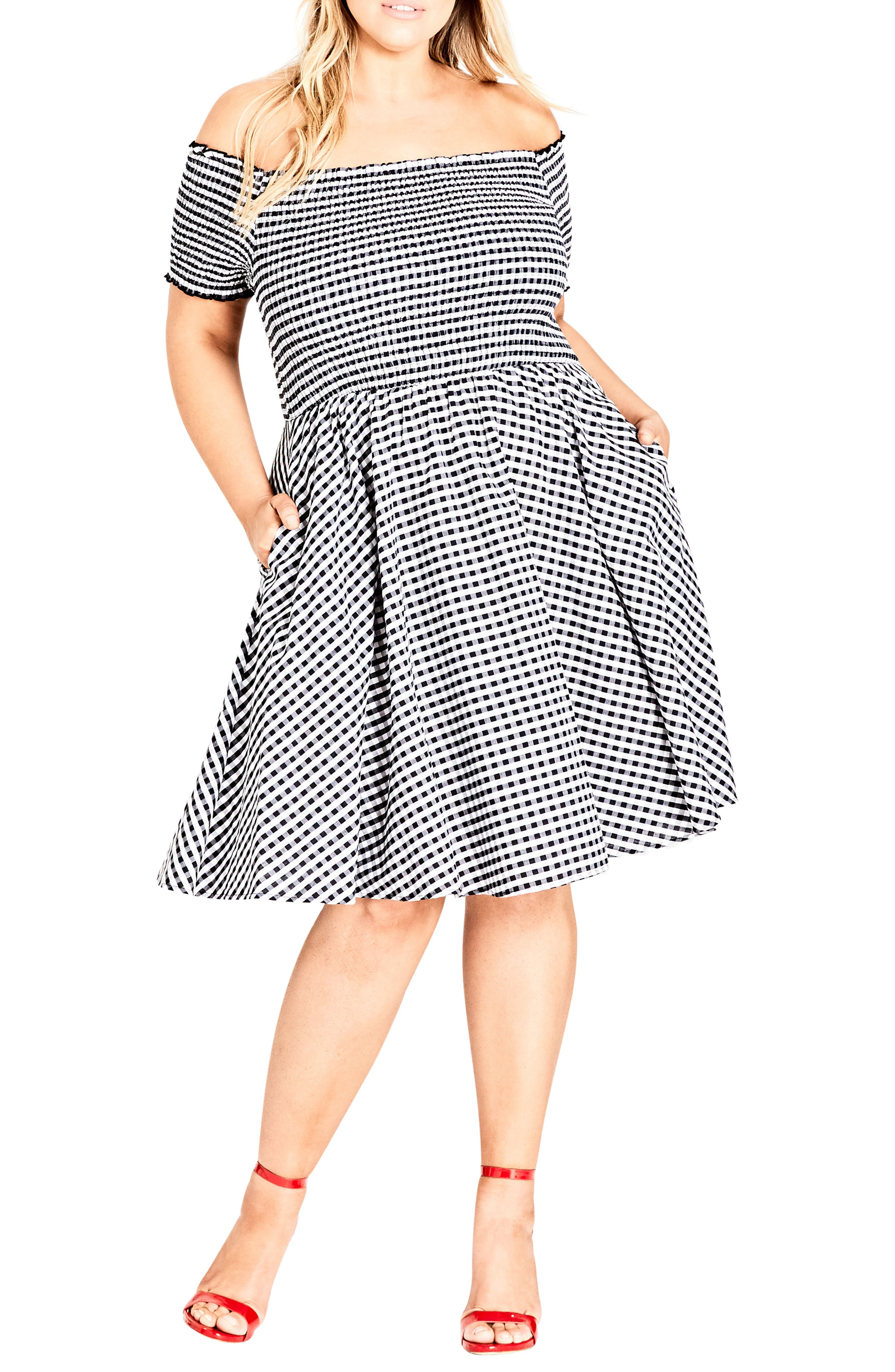 Gingham Off the Shoulder Fit & Flare Dress,                             Main thumbnail 1, color,                             GINGHAM