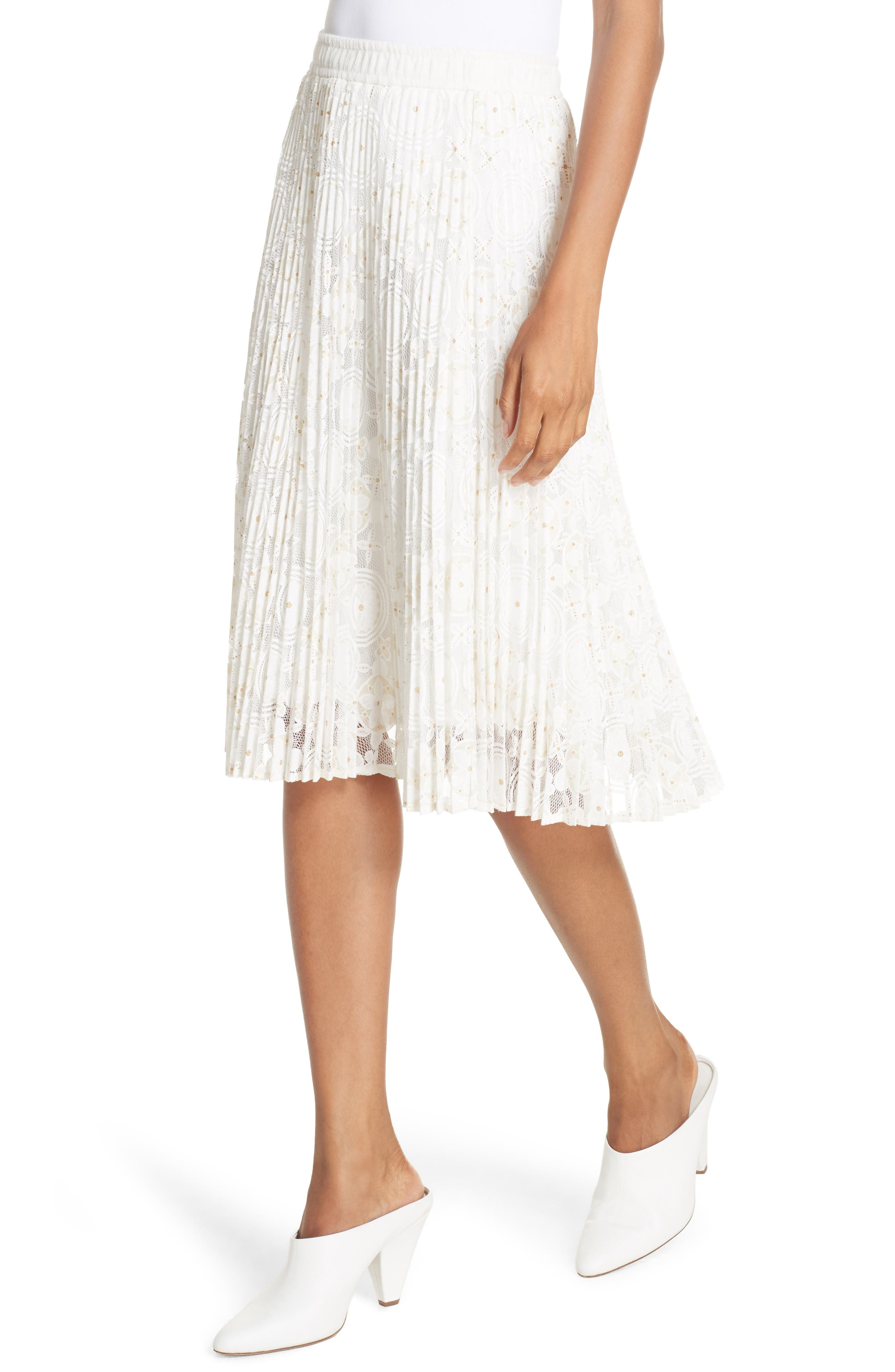 Metallic Floral Lace Pleated Skirt,                             Alternate thumbnail 4, color,                             IVORY
