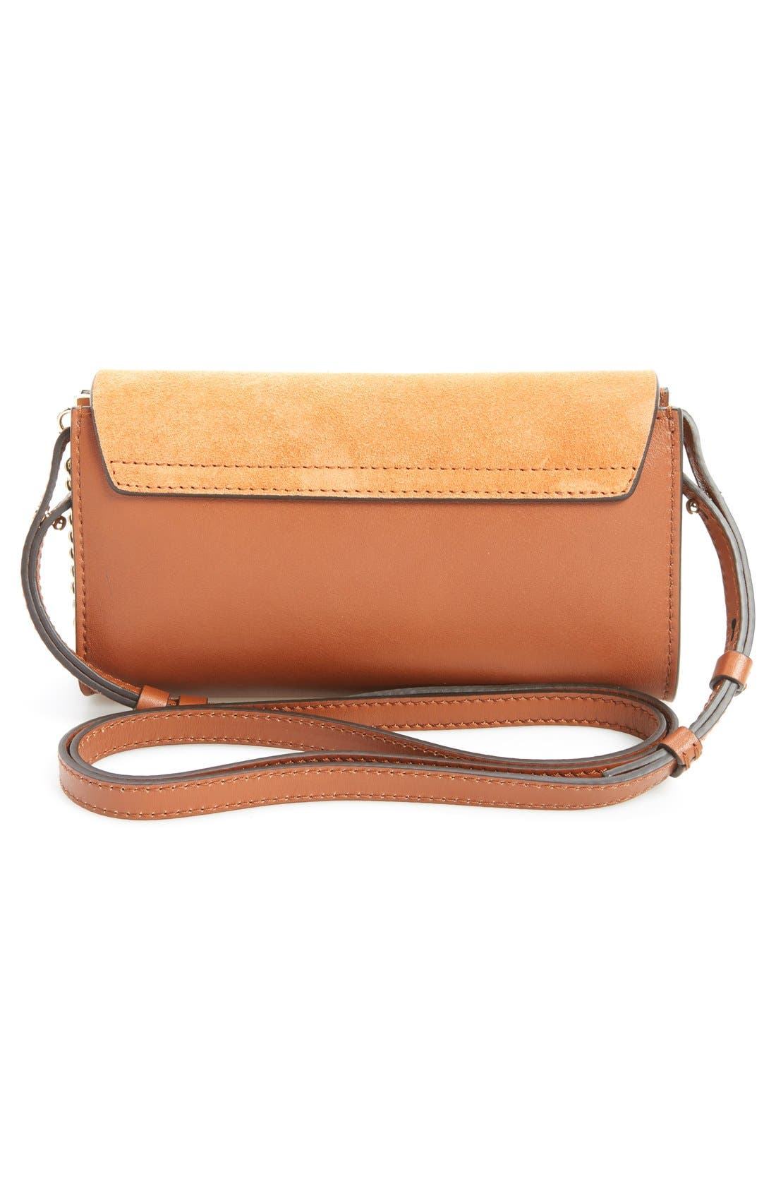 Mini Faye Suede & Leather Wallet on a Chain,                             Alternate thumbnail 4, color,                             CLASSIC TOBACCO