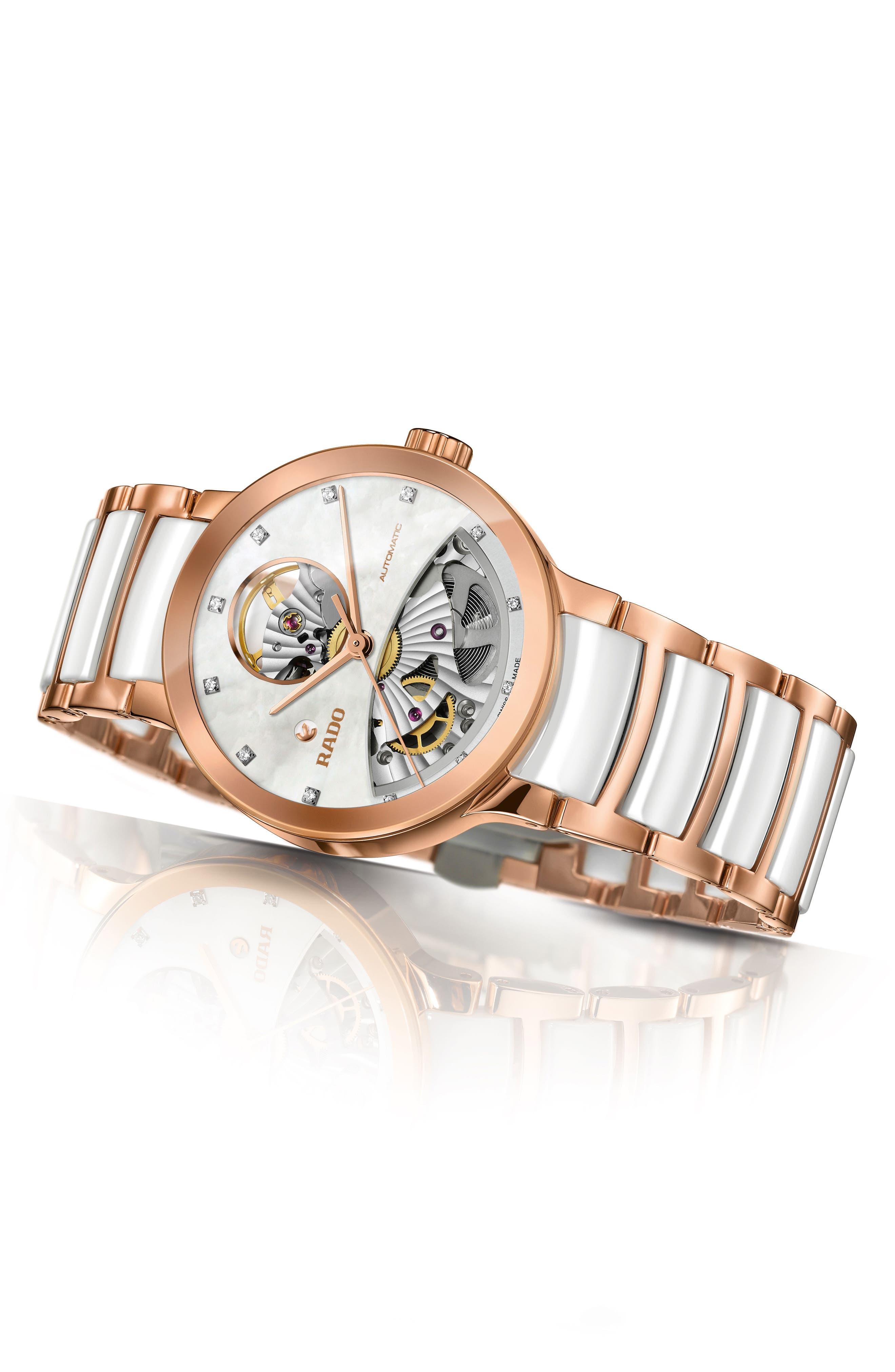 RADO,                             Centrix Open Heart Automatic Diamond Ceramic Bracelet Watch, 33mm,                             Alternate thumbnail 3, color,                             WHITE/ MOP/ ROSE GOLD