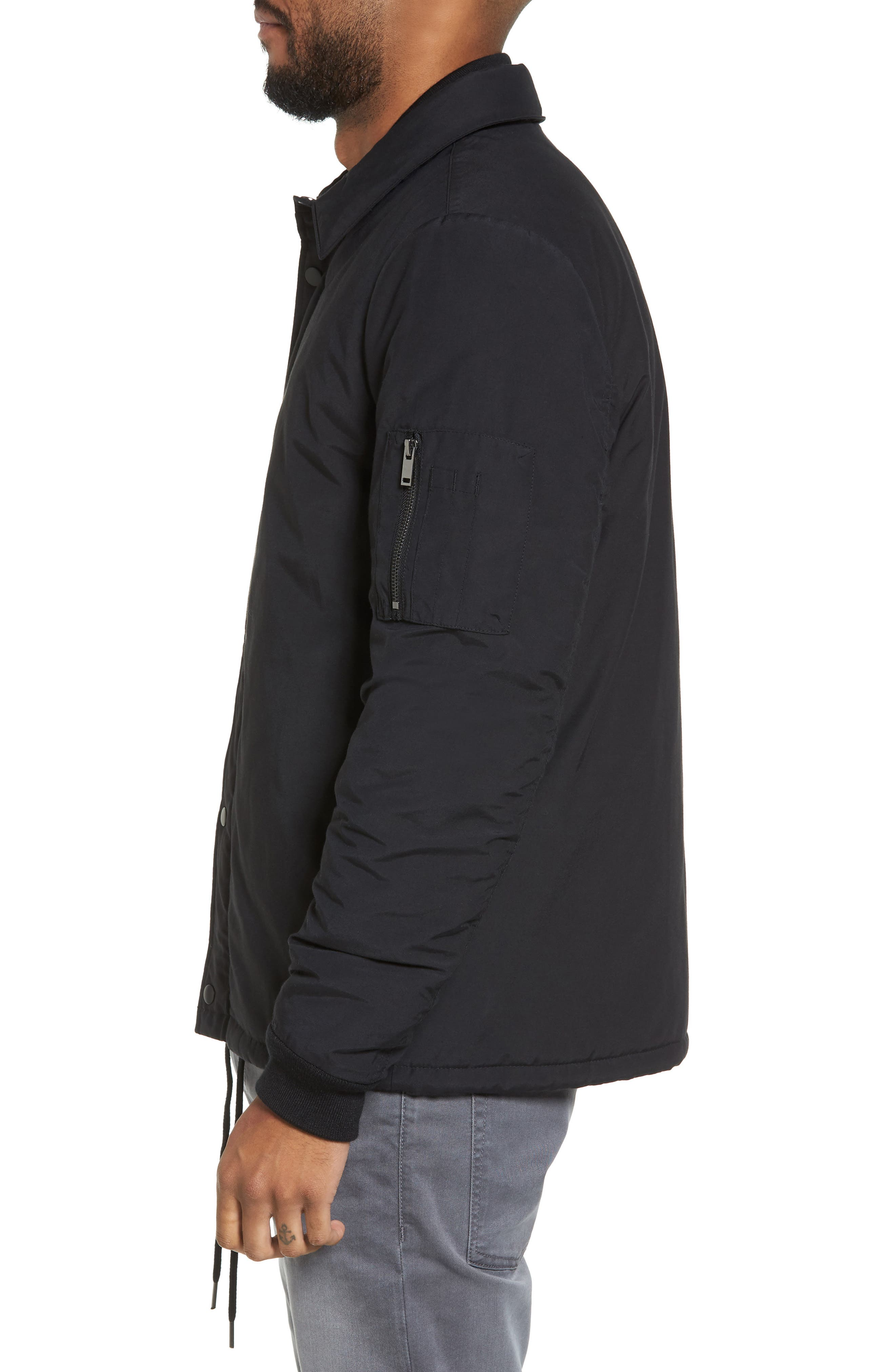 Collared Bomber Jacket,                             Alternate thumbnail 3, color,                             001