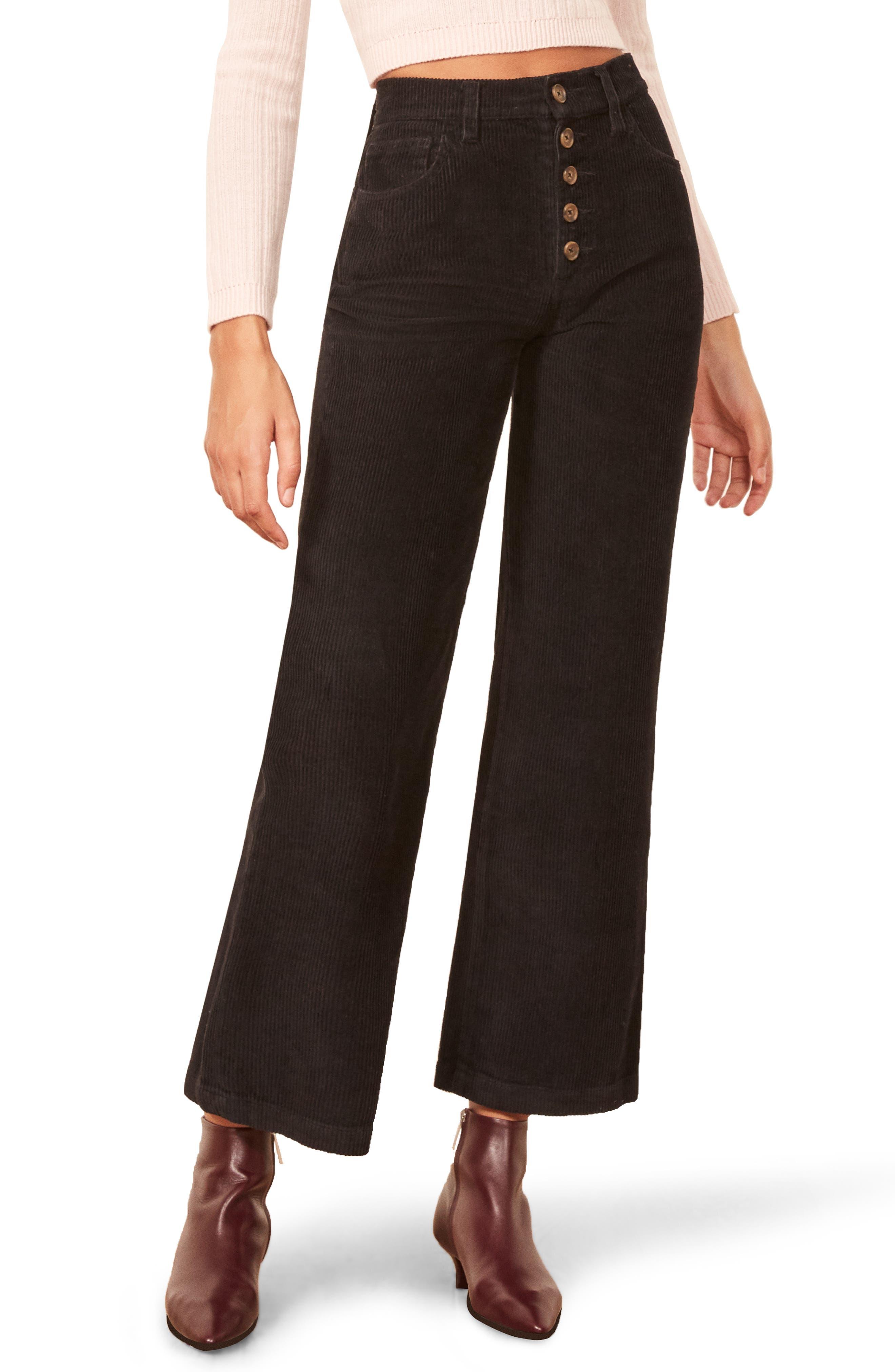 Austin Button Fly Corduroy Pants,                             Main thumbnail 1, color,                             BLACK