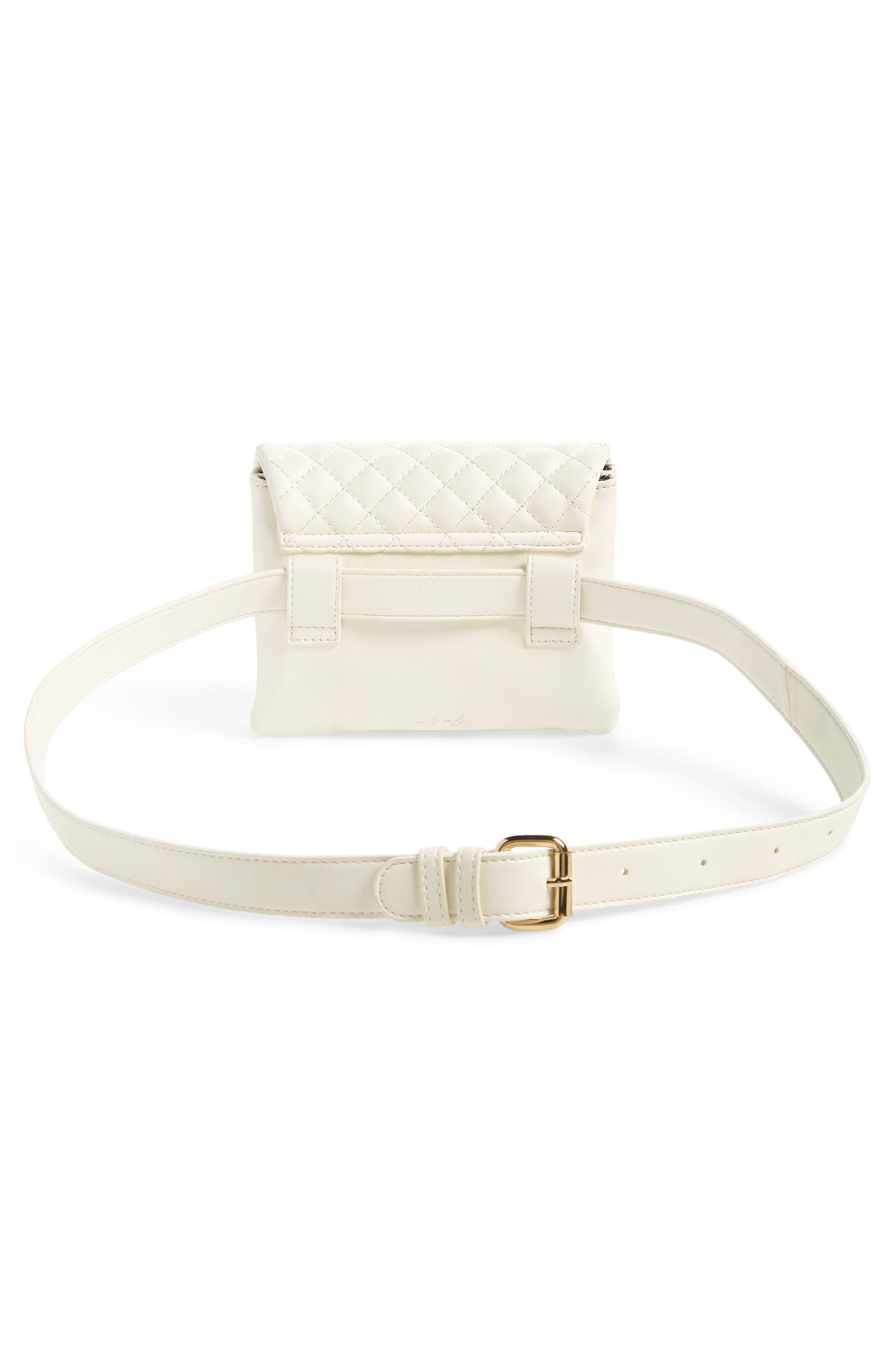 Mali + Lili Quilted Vegan Leather Convertible Belt Bag,                             Alternate thumbnail 5, color,                             WHITE