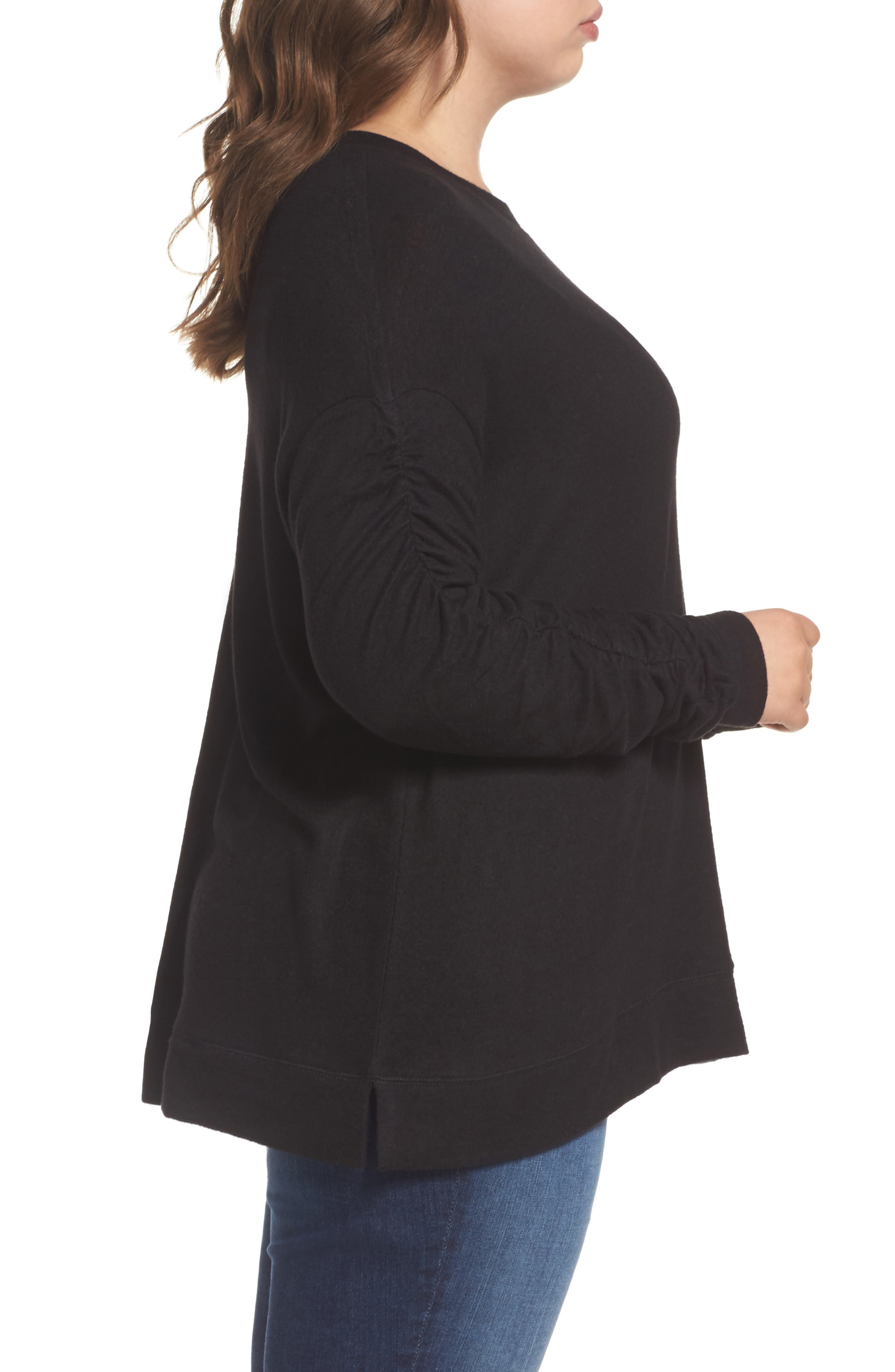 Ruched Sleeve Cozy Pullover,                             Alternate thumbnail 3, color,                             001