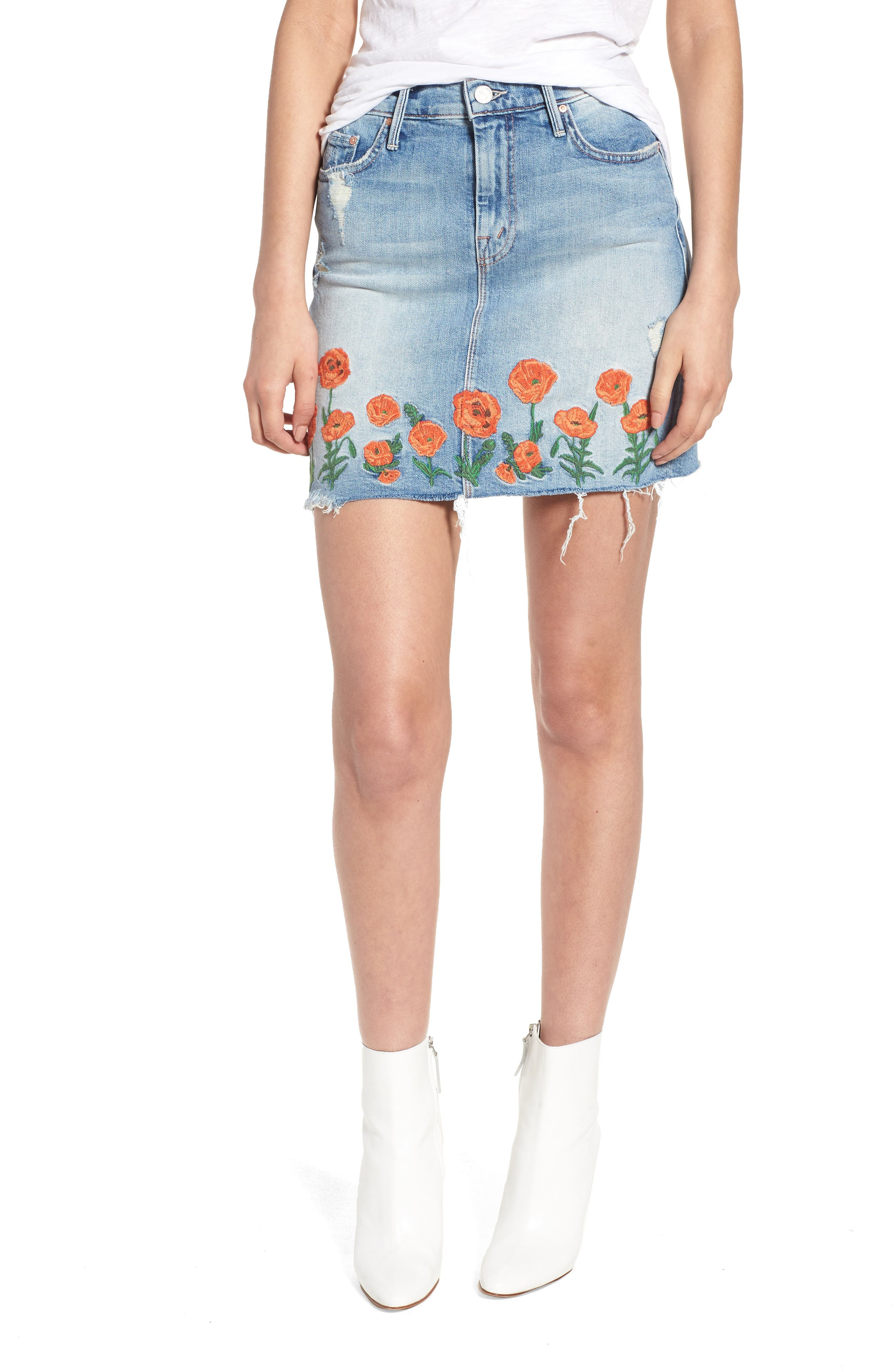 High Waist Fray Straight Denim Miniskirt,                             Main thumbnail 1, color,