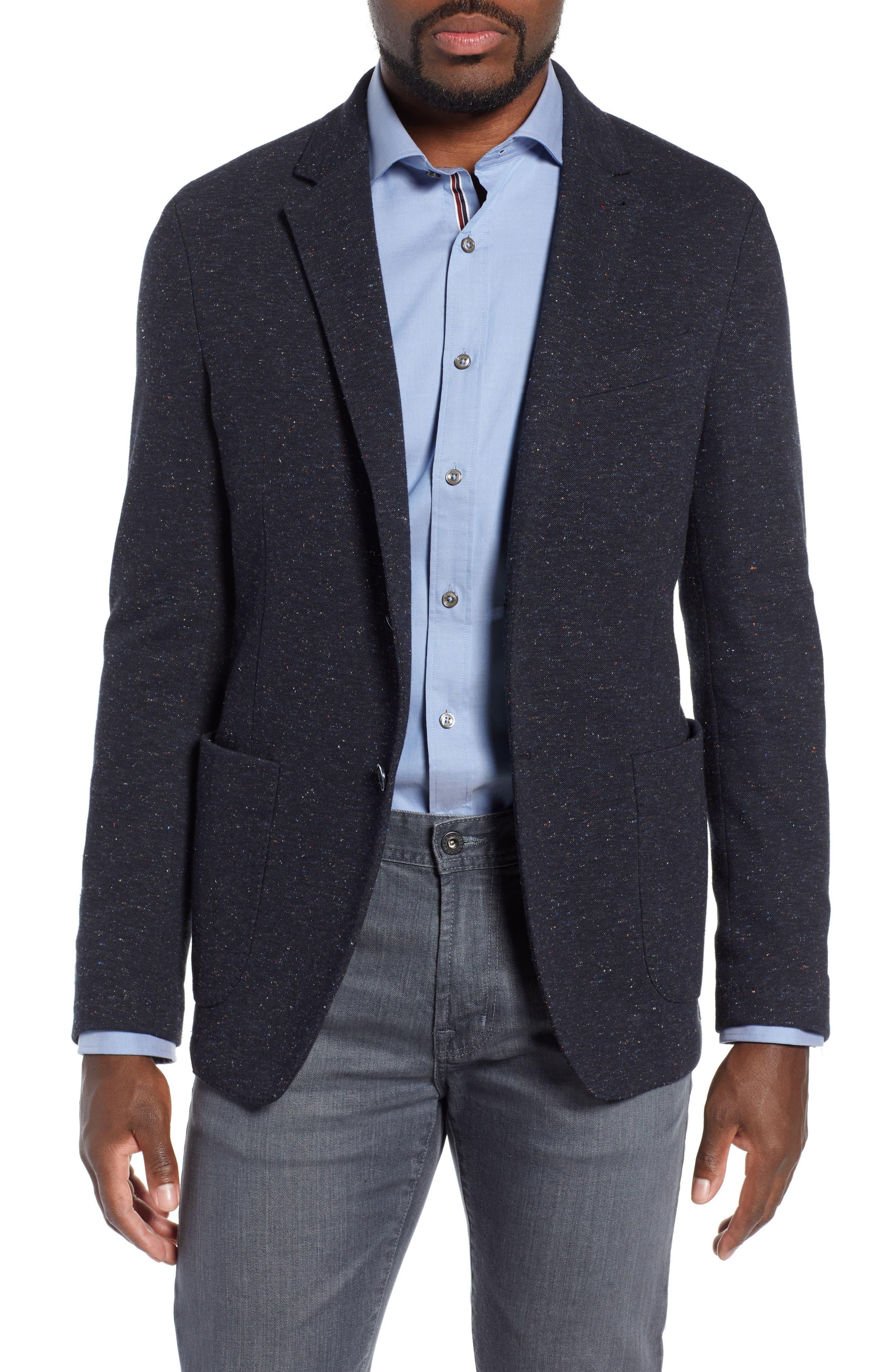 BUGATCHI Cotton & Wool Blend Sport Coat in Caviar
