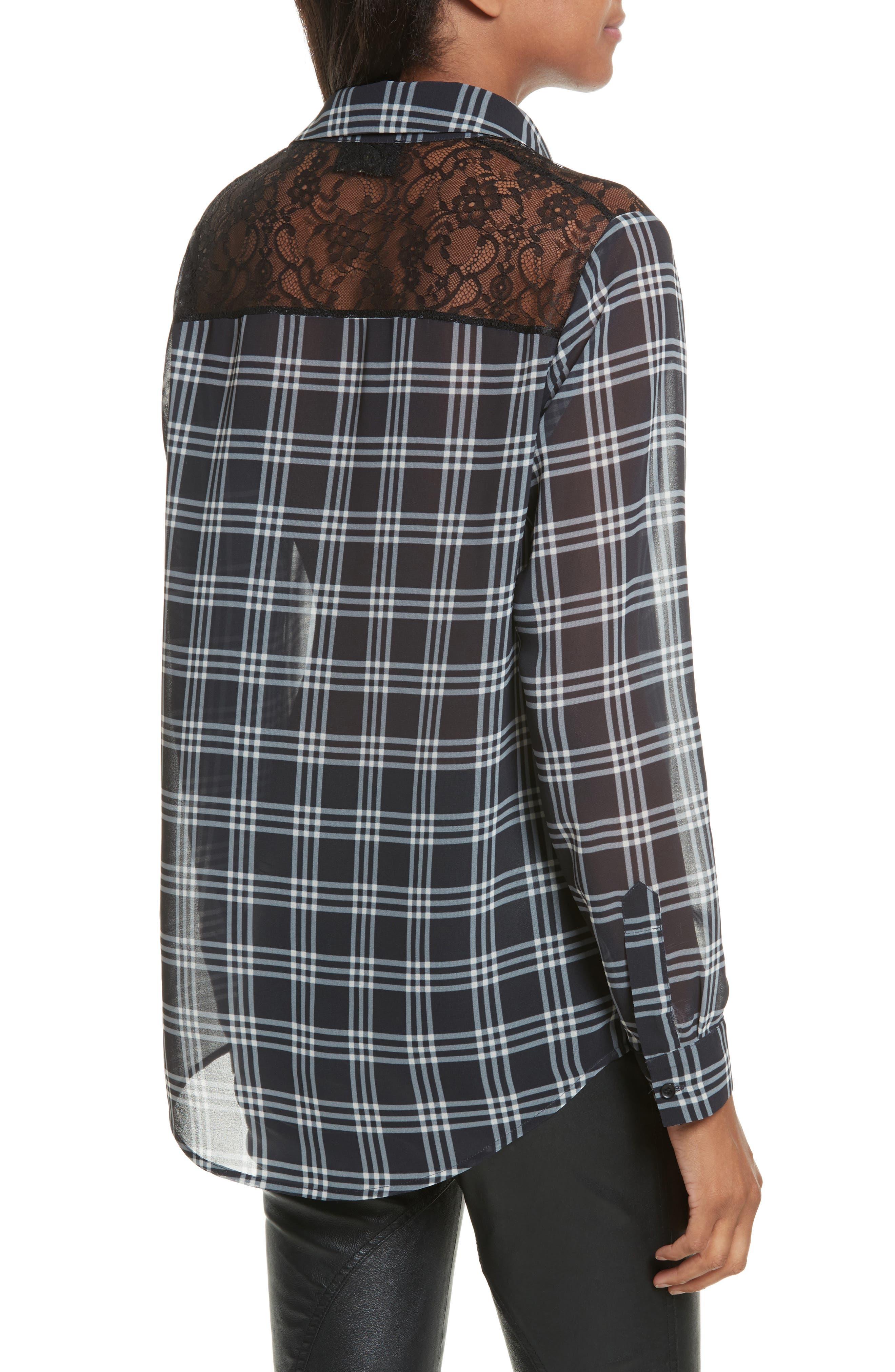 Lace Yoke Plaid Shirt,                             Alternate thumbnail 2, color,                             001