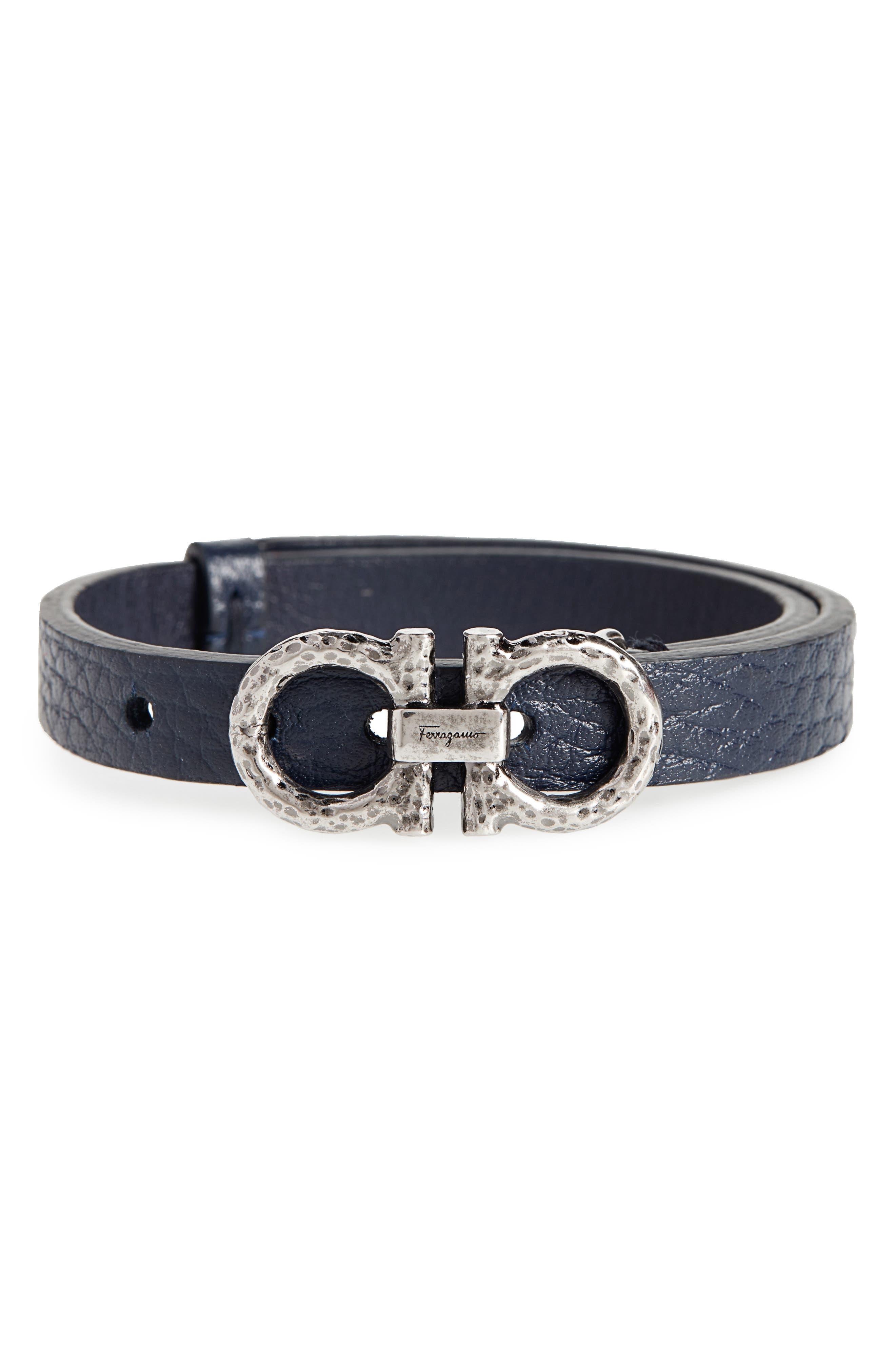 SALVATORE FERRAGAMO,                             Double Gancio Leather Bracelet,                             Main thumbnail 1, color,                             BLUE MARINE/ SILVER