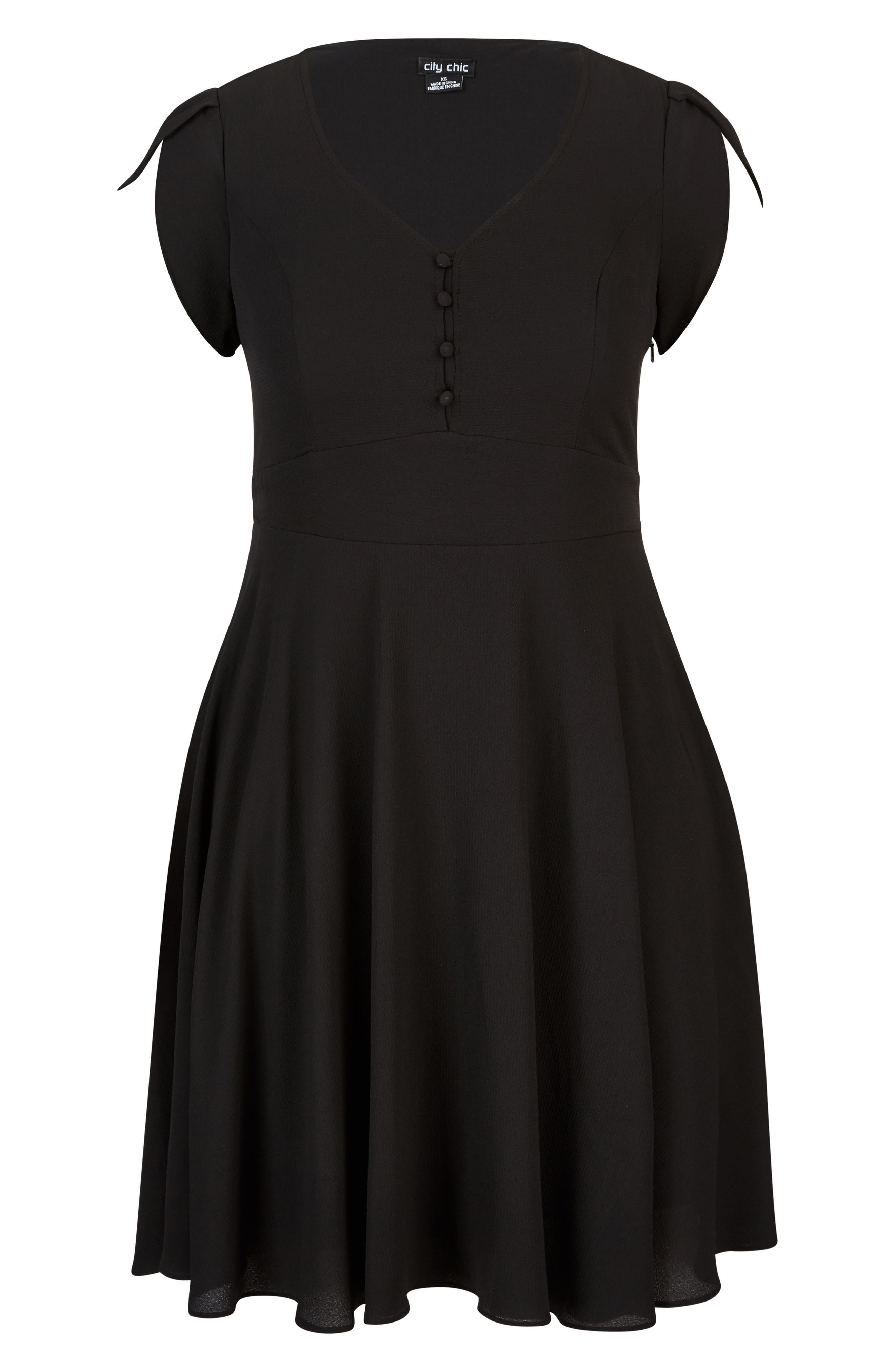 Button Fit & Flare Dress,                             Alternate thumbnail 3, color,                             BLACK