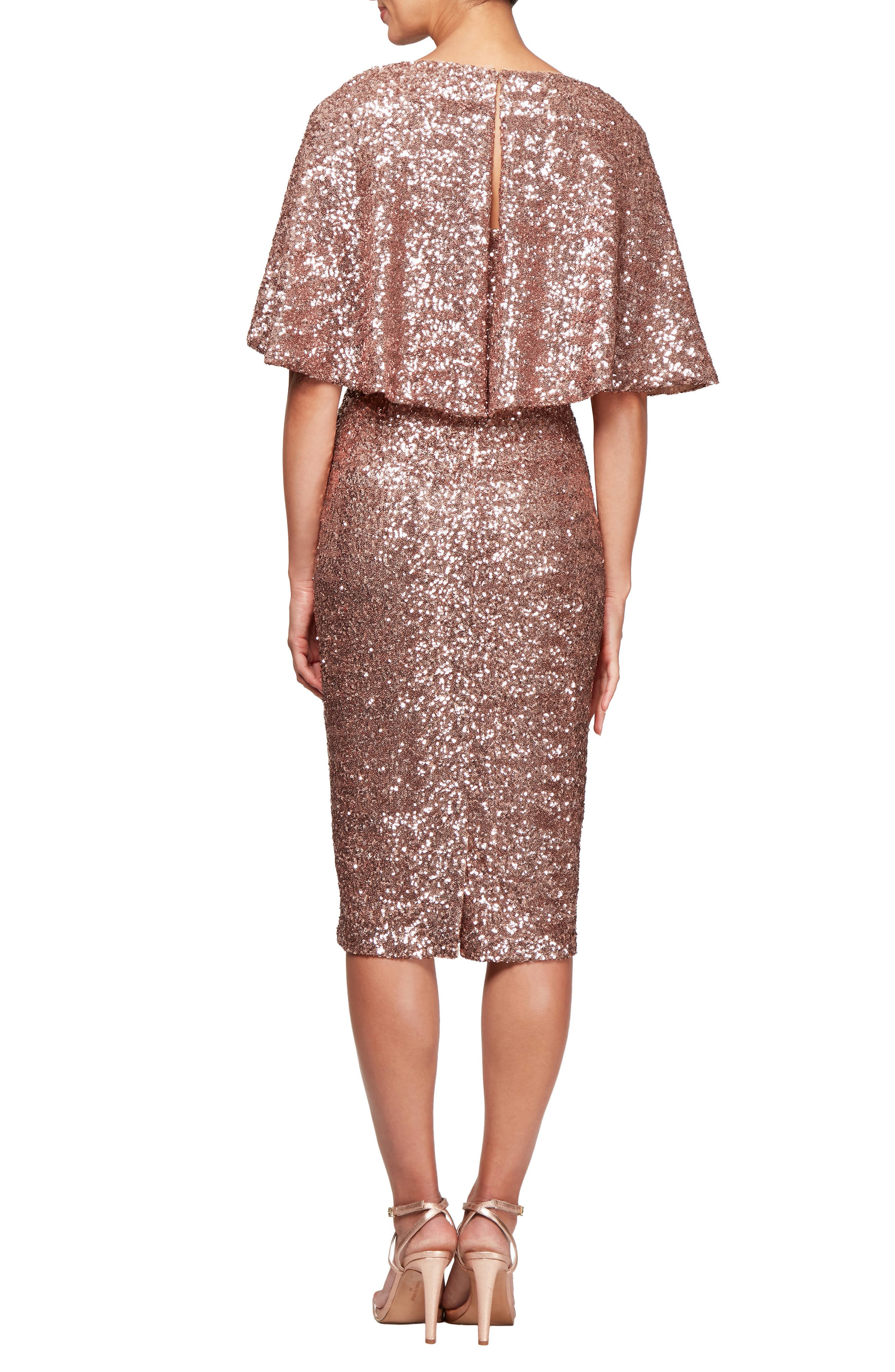 Capelet Sleeve Sequin Cocktail Sheath,                             Alternate thumbnail 2, color,                             ROSE GOLD