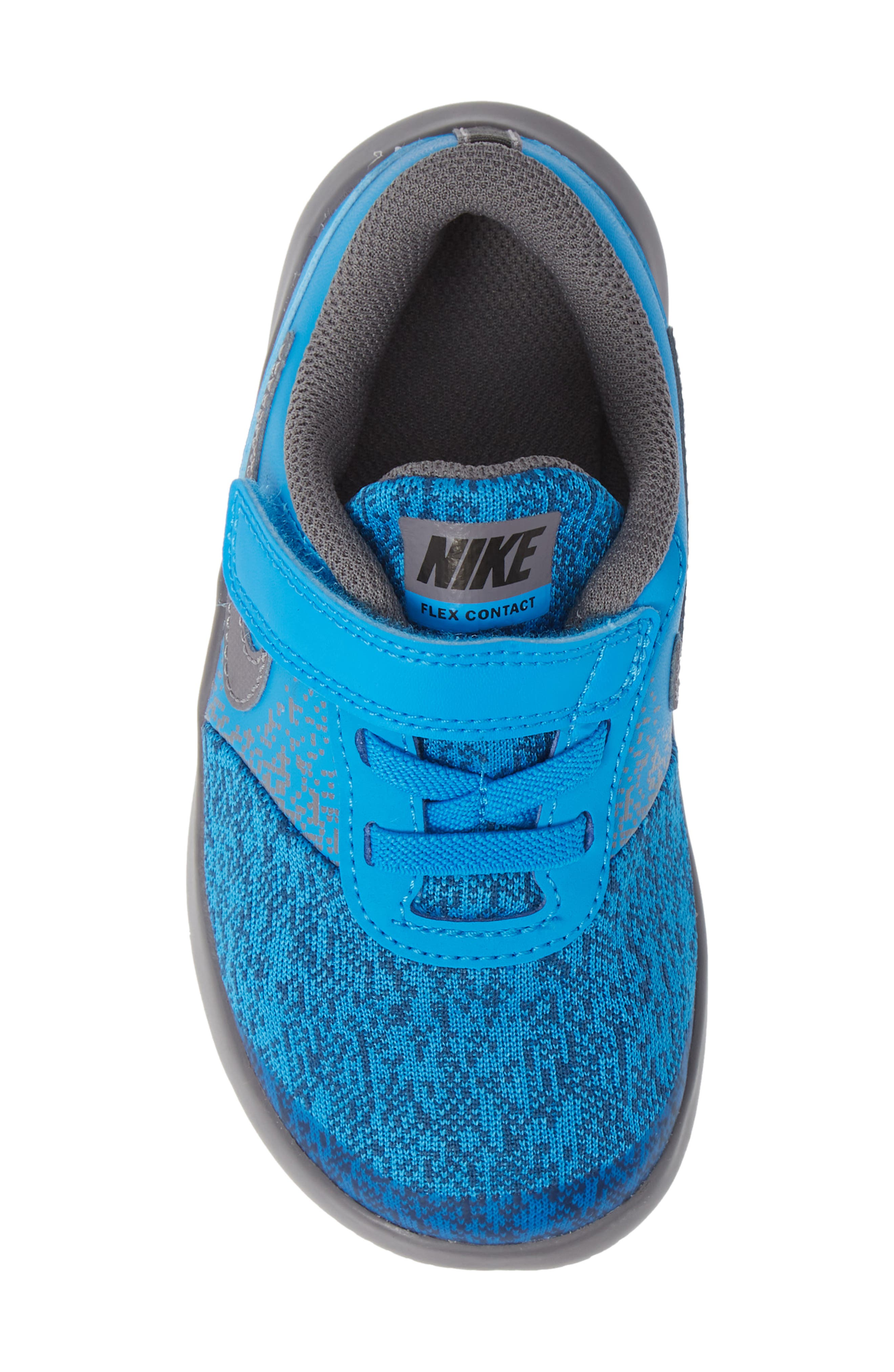 Flex Contact Running Shoe,                             Alternate thumbnail 5, color,                             BLUE HERO/ GUNSMOKE/ GREEN