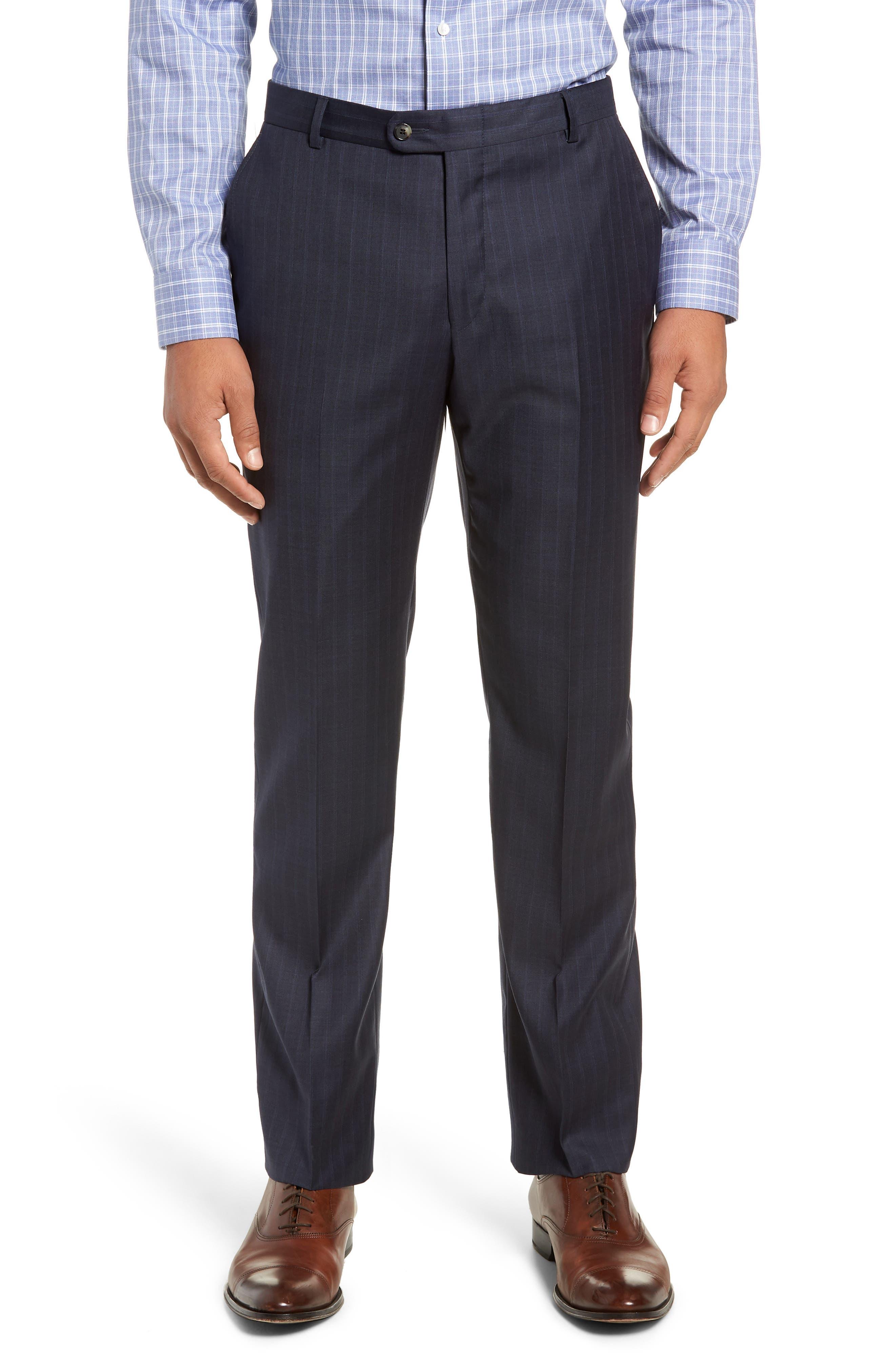 Classic Fit Stripe Wool Suit,                             Alternate thumbnail 5, color,                             DARK BLUE