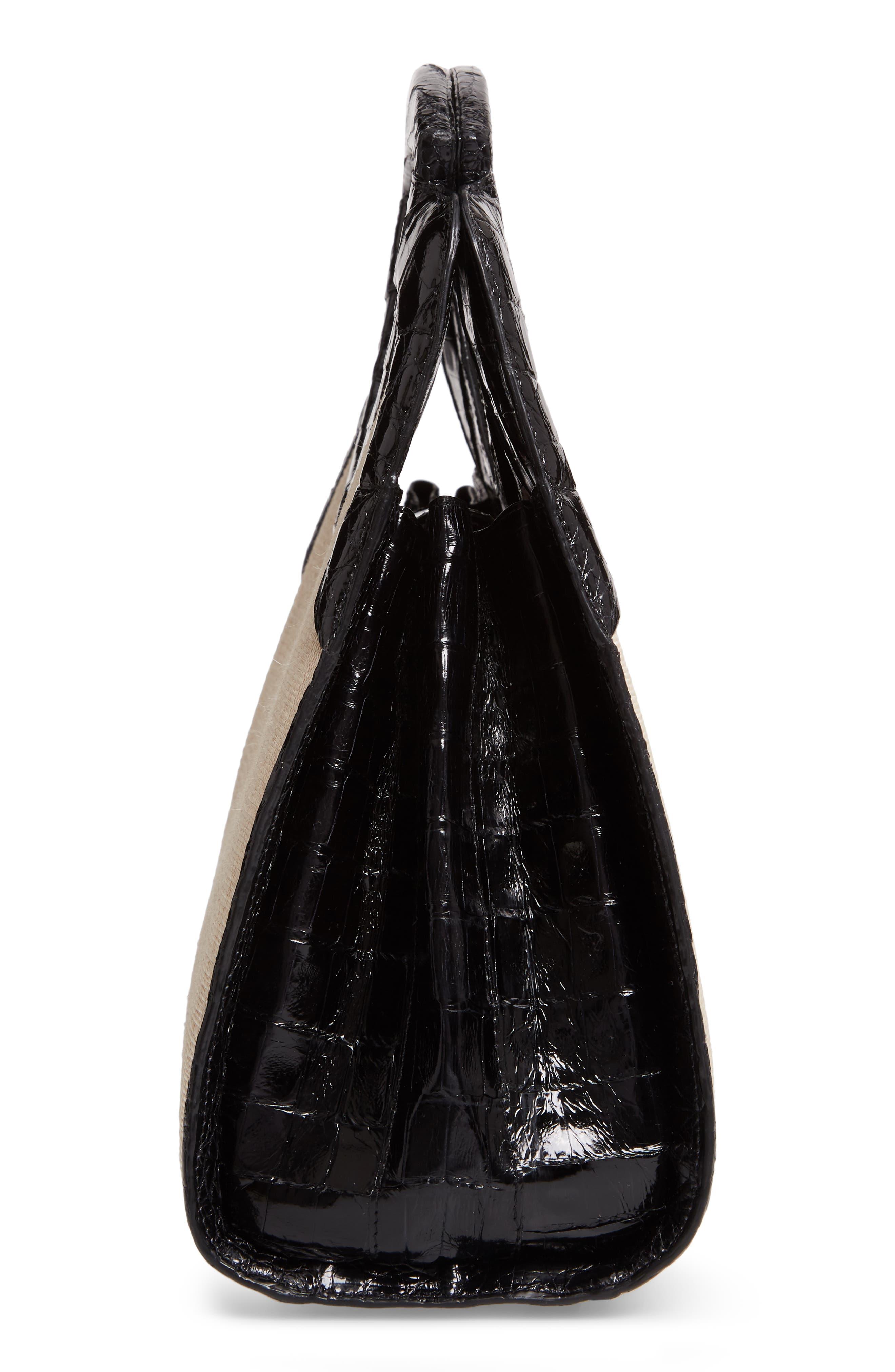 Small Genuine Crocodile Top Handle Bag,                             Alternate thumbnail 5, color,                             BLACK/ STRAW