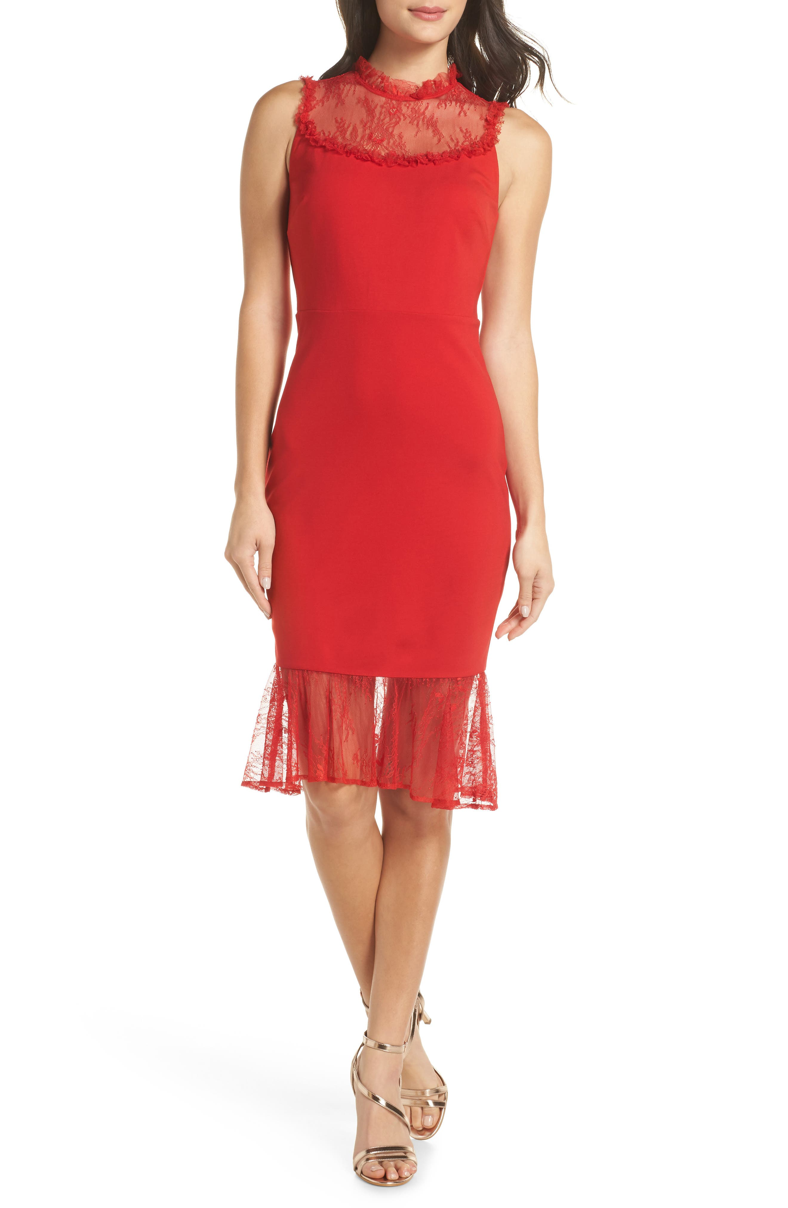 ALI & JAY Two to Tango Lace Detail Dress, Main, color, SCARLET