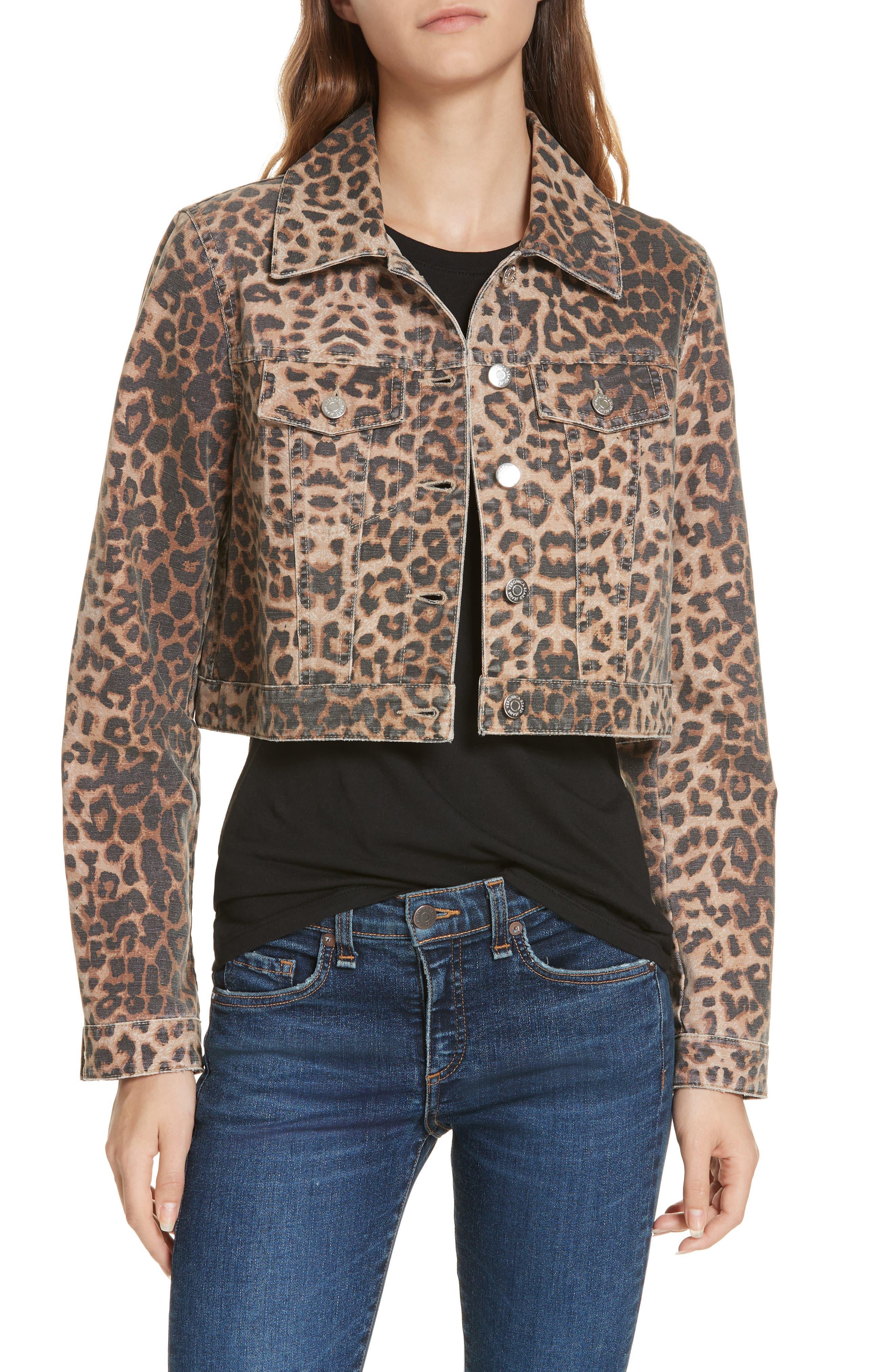 VERONICA BEARD,                             Cara Leopard Print Crop Denim Jacket,                             Main thumbnail 1, color,                             LEOPARD