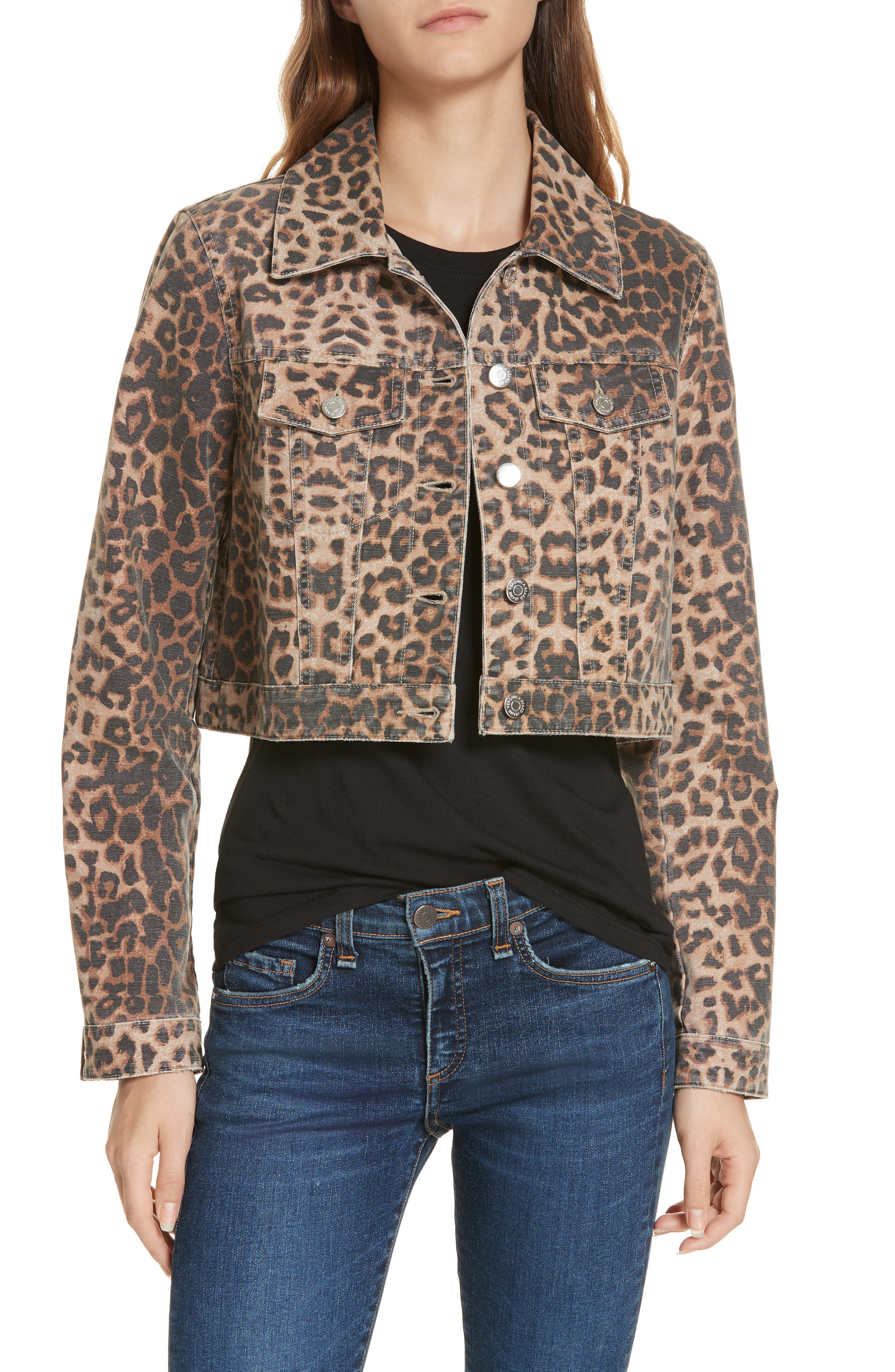 VERONICA BEARD Cara Leopard Print Crop Denim Jacket, Main, color, LEOPARD