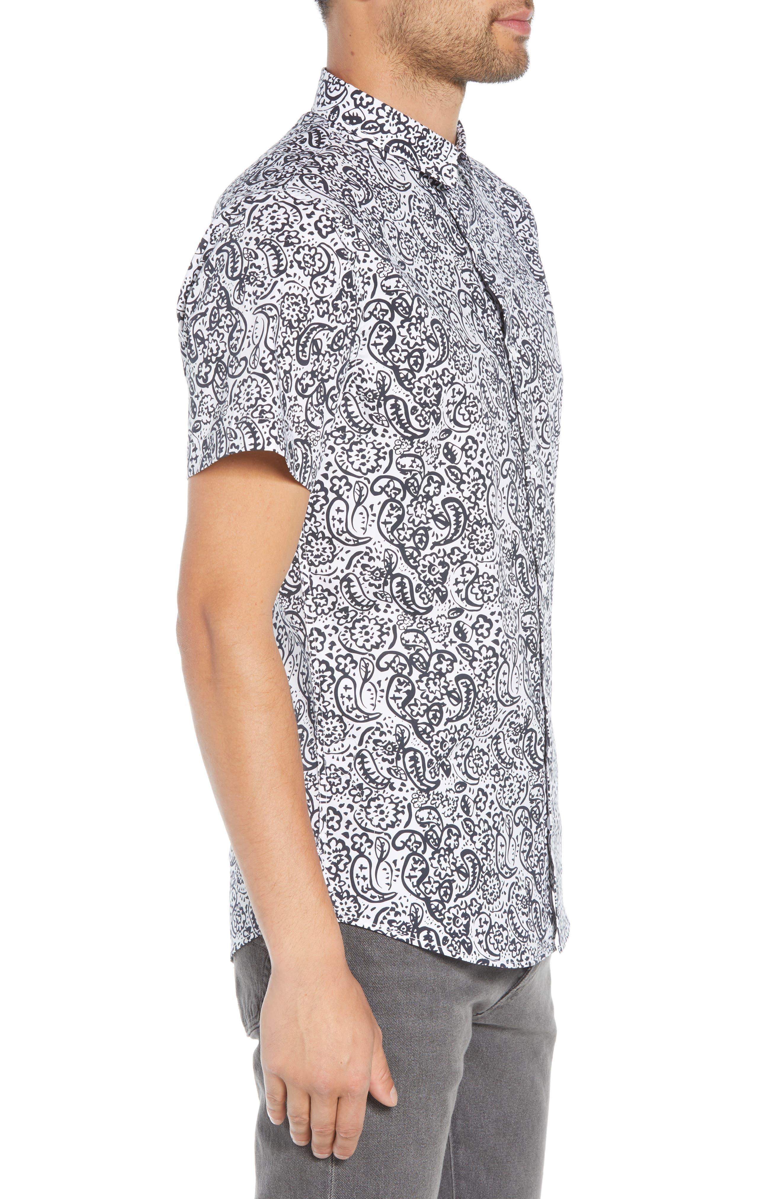 Paisley Print Woven Shirt,                             Alternate thumbnail 3, color,                             100