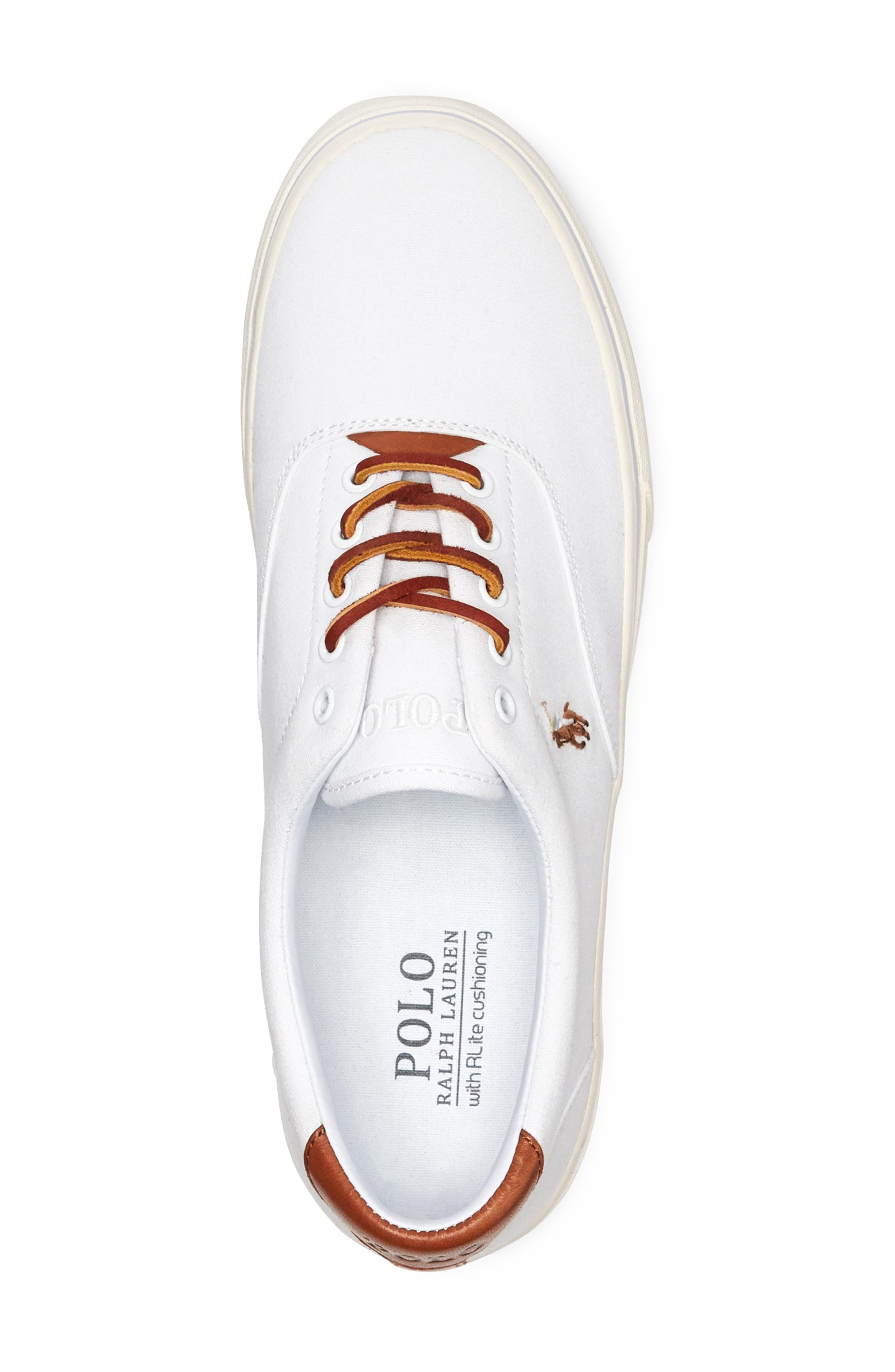 POLO RALPH LAUREN,                             Thorton Low Top Sneaker,                             Alternate thumbnail 3, color,                             WHITE CANVAS