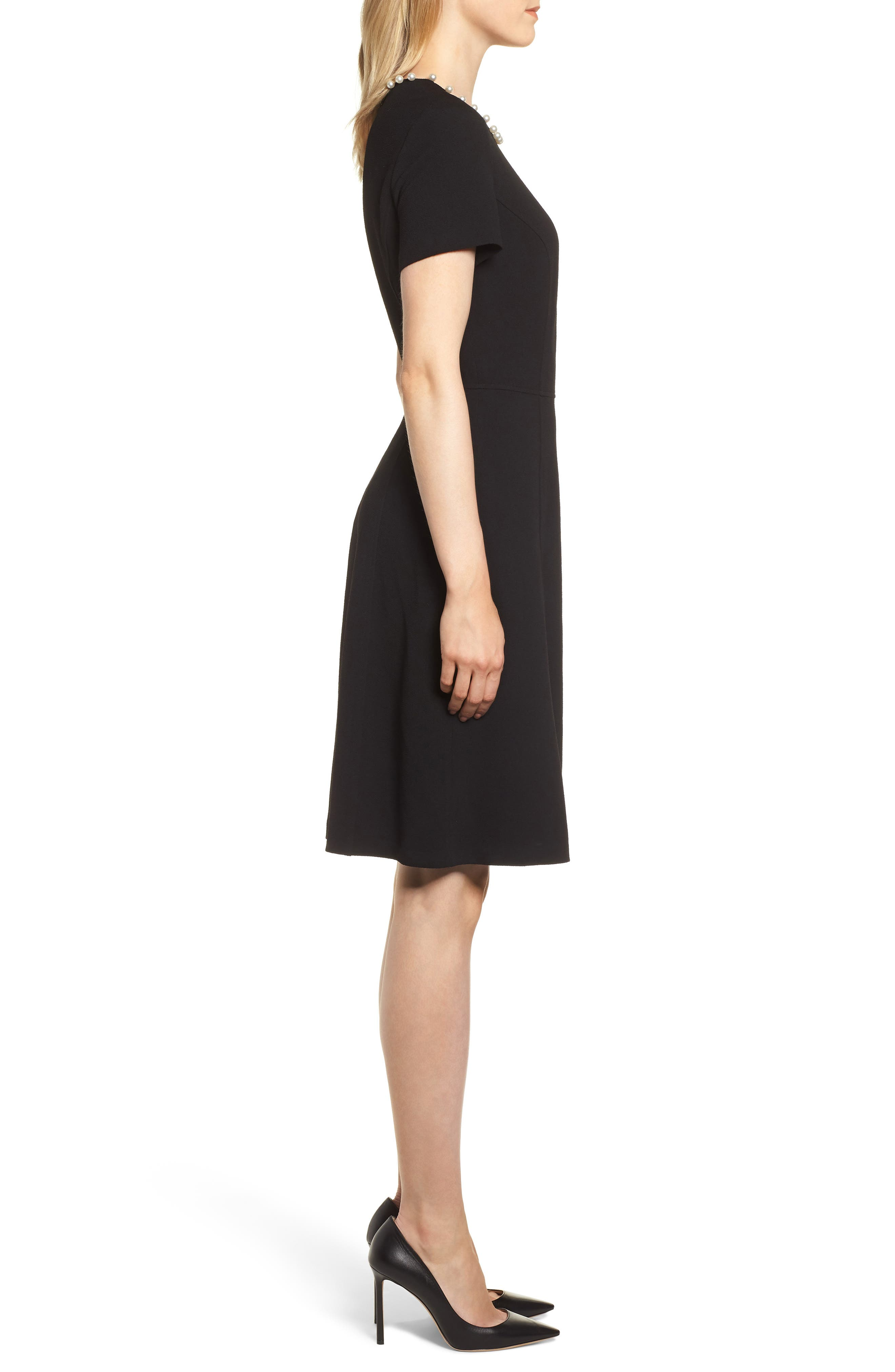 KARL LAGERFELD PARIS,                             Pearly Necklace Fit & Flare Dress,                             Alternate thumbnail 3, color,                             001