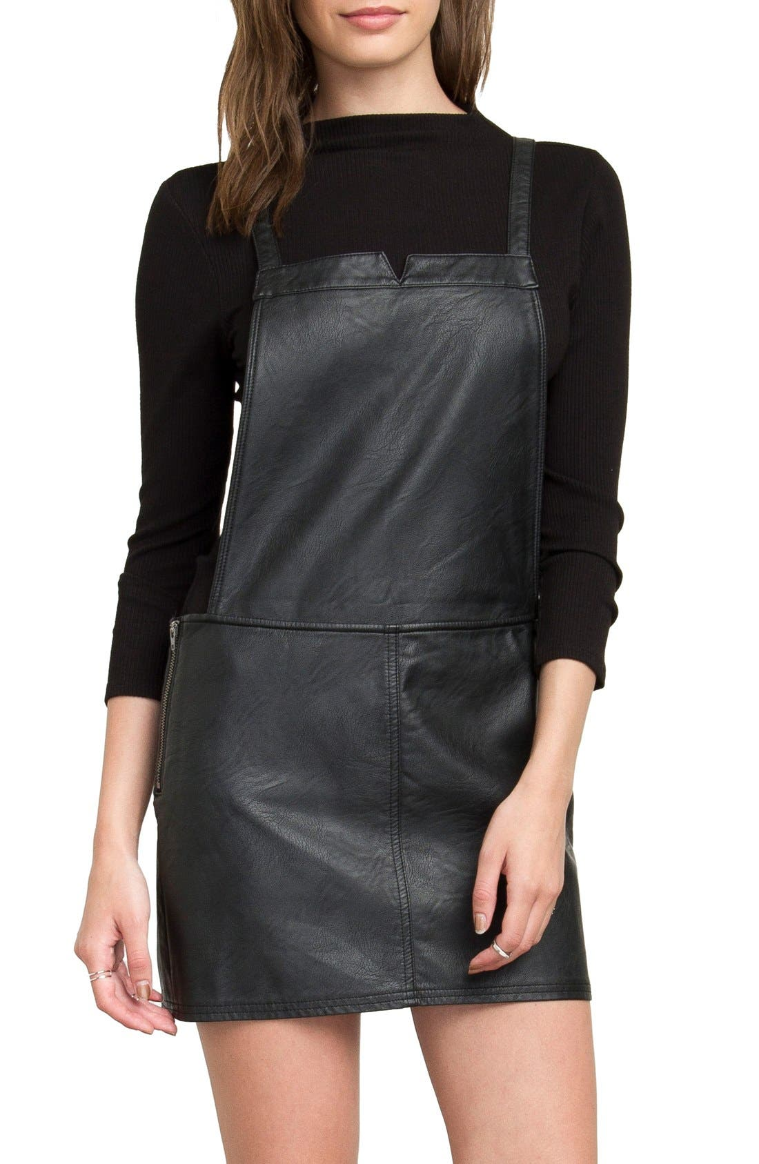 Apologies Faux Leather Pinafore Dress, Main, color, 001