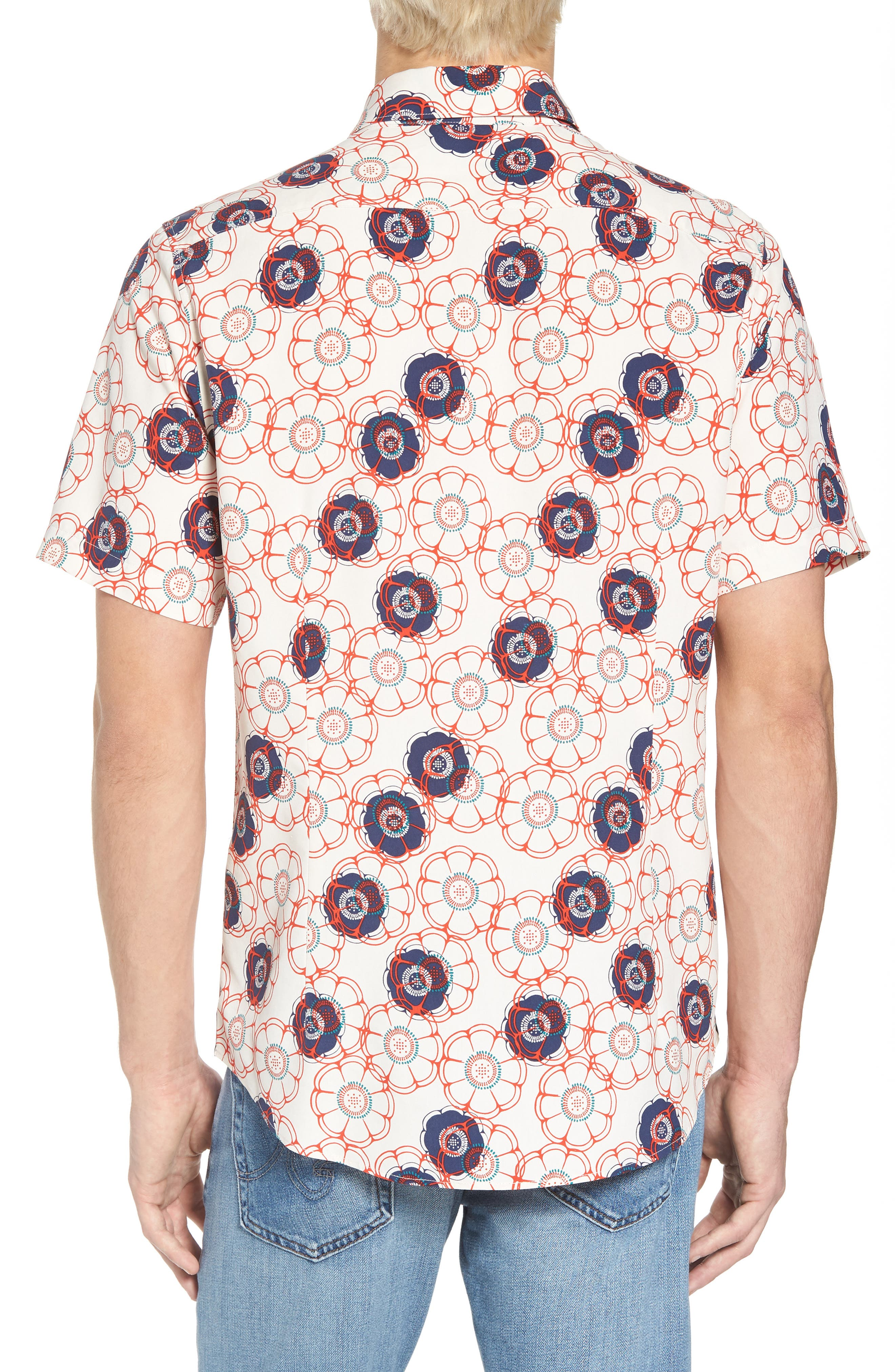 Tailor Fit Floral Print Silk Shirt,                             Alternate thumbnail 2, color,                             CANVAS/ RED CORAL