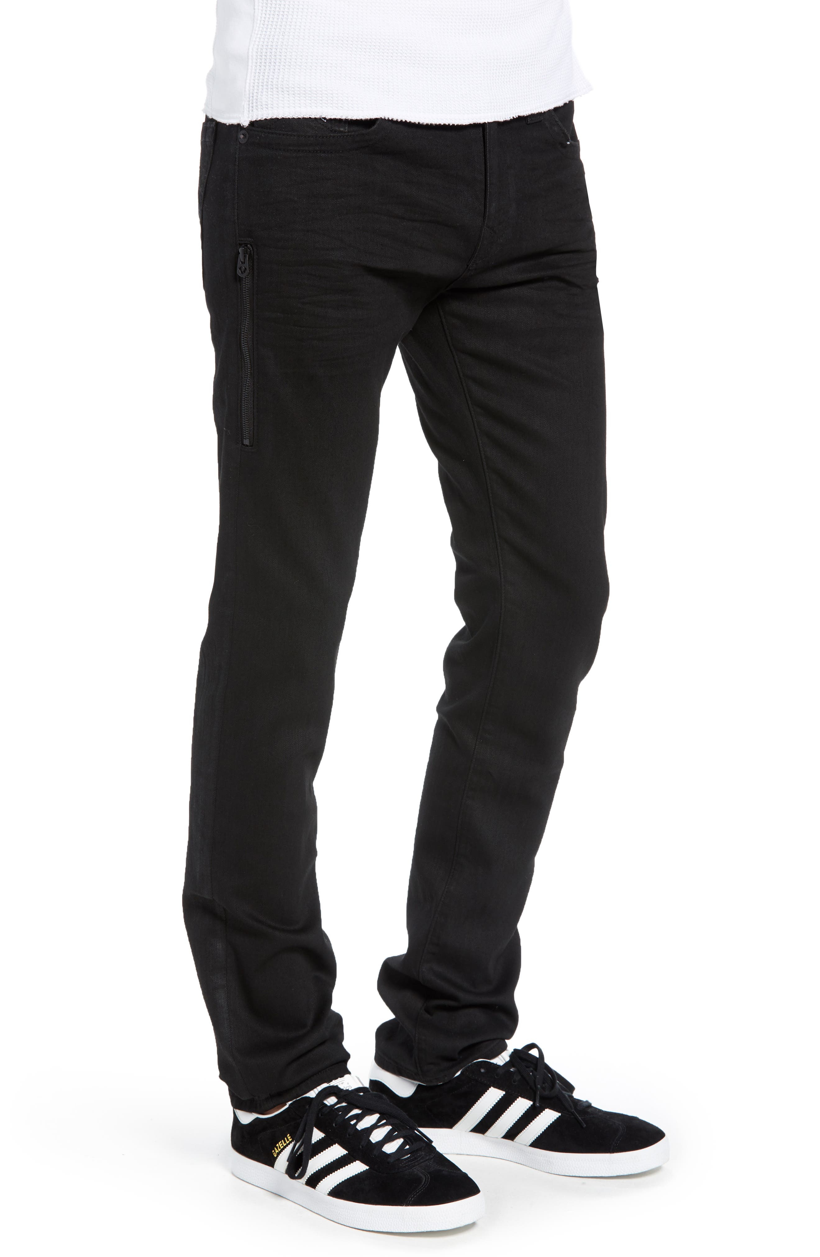 Rocco Skinny Fit Jeans,                             Alternate thumbnail 3, color,                             MIDNIGHT BLACK COATED