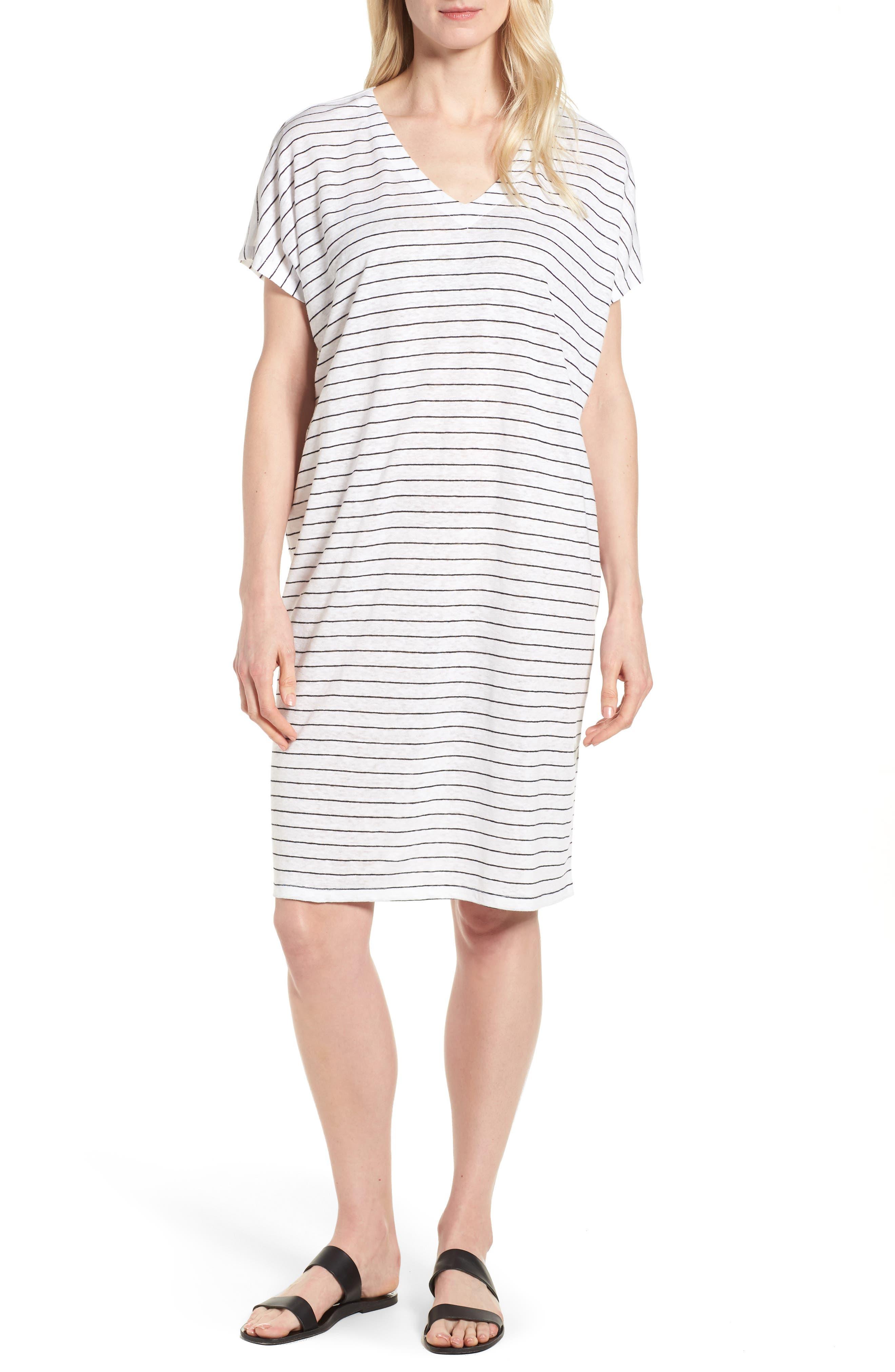 Stripe Organic Linen Shift Dress,                             Main thumbnail 1, color,                             120