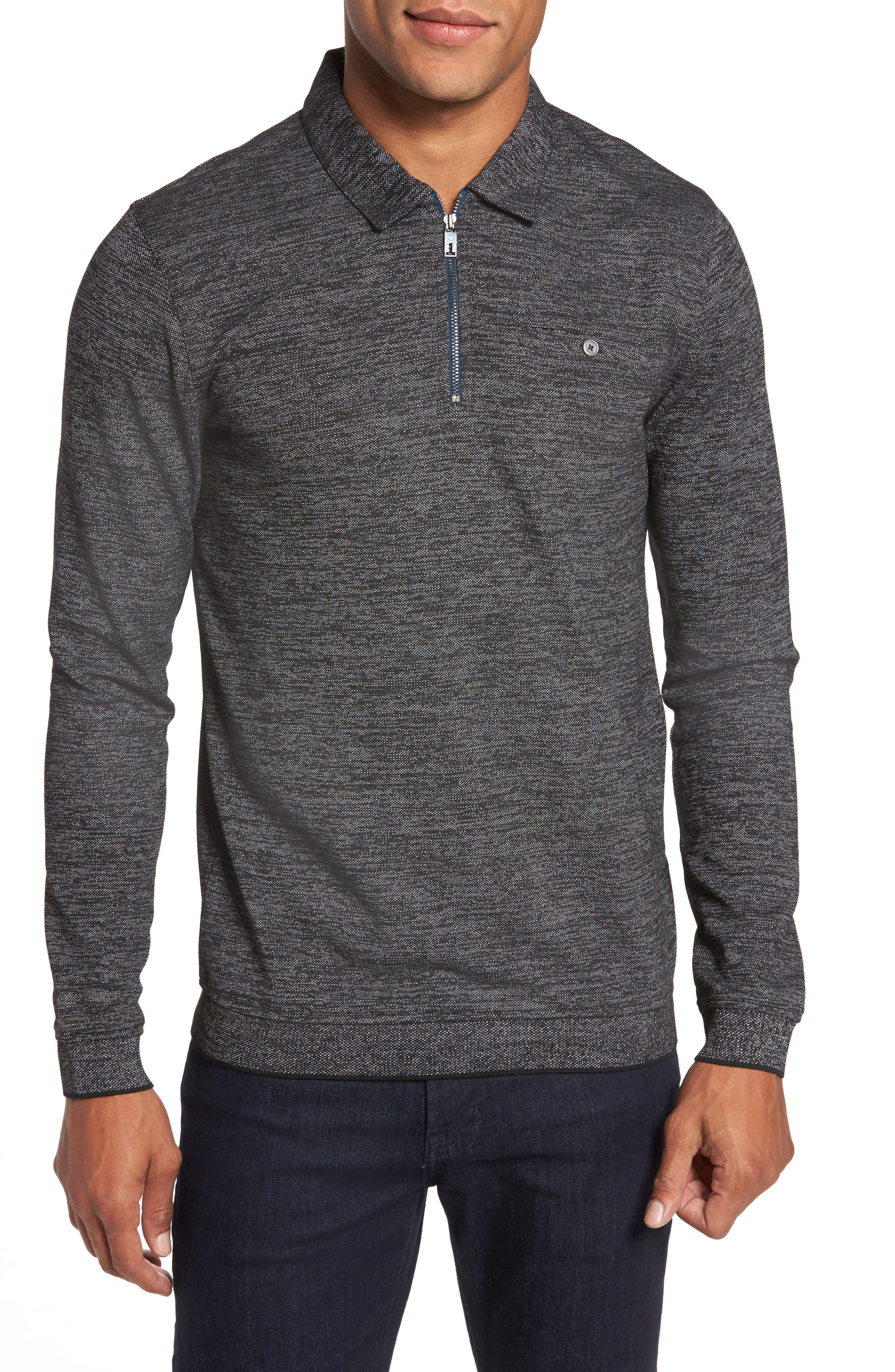 Modern Slim Fit Long Sleeve Jersey Polo,                             Main thumbnail 1, color,