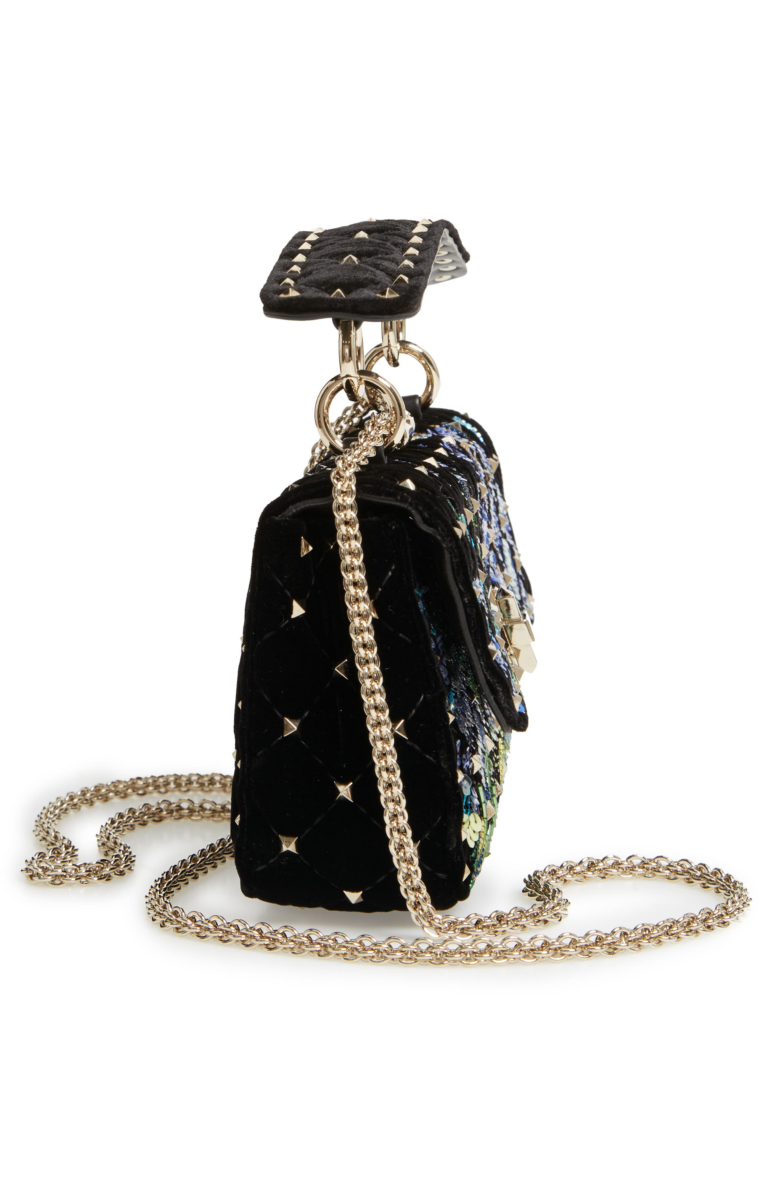 Small Spike.It Floral Sequin Bag,                             Alternate thumbnail 5, color,                             NERO