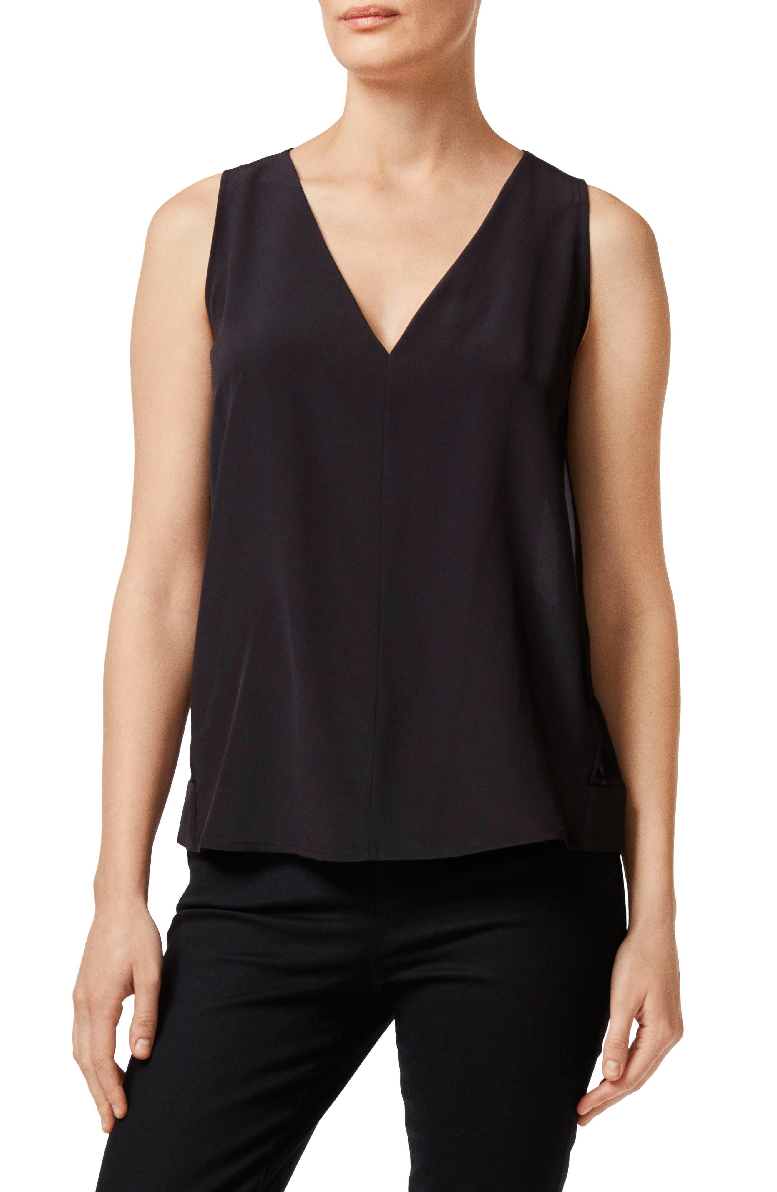 Christina Pleated Back Silk Top,                         Main,                         color, BLACK