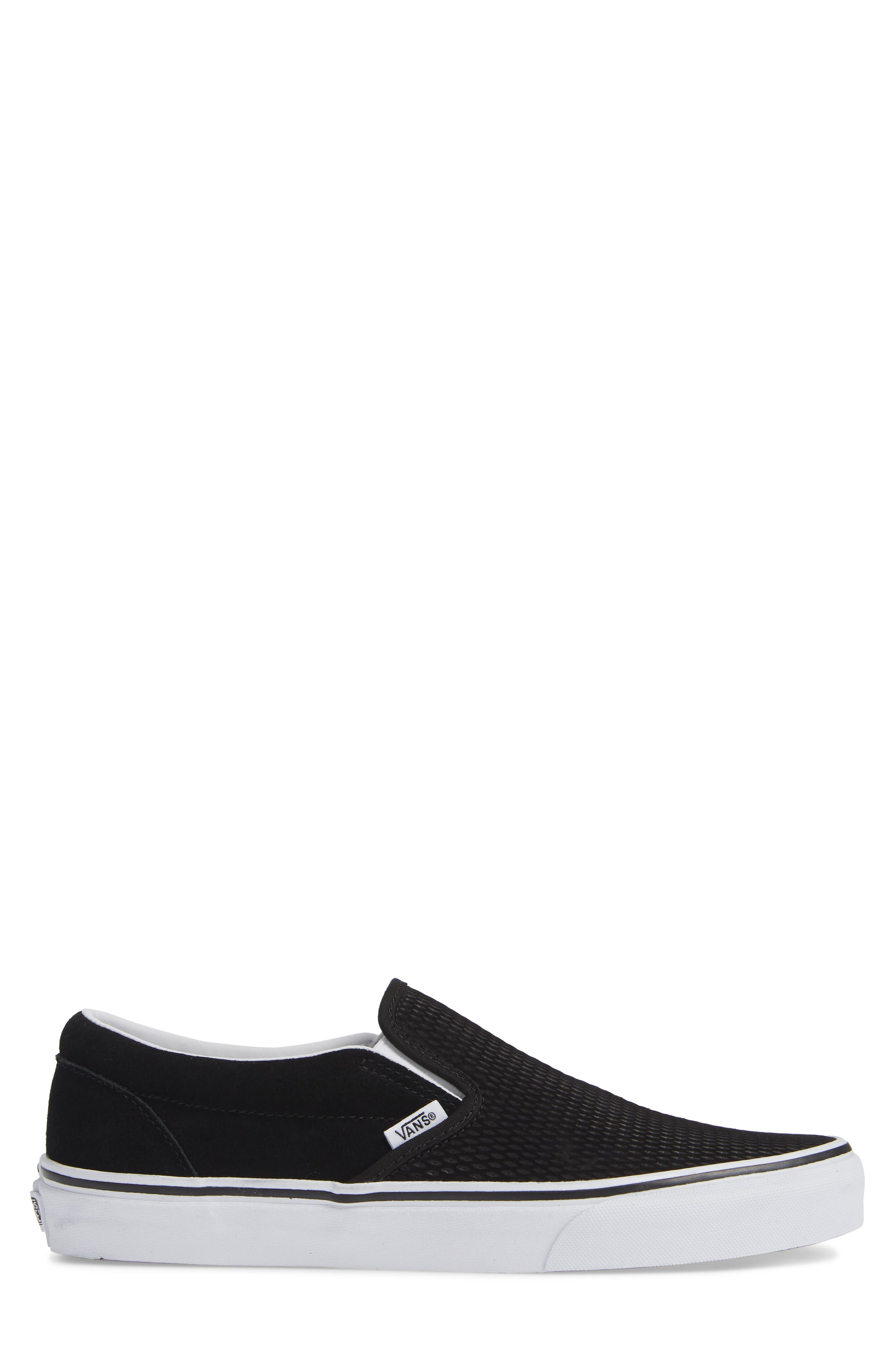 Classic Embossed Suede Slip-On,                             Alternate thumbnail 3, color,                             BLACK/ TRUE WHITE SUEDE