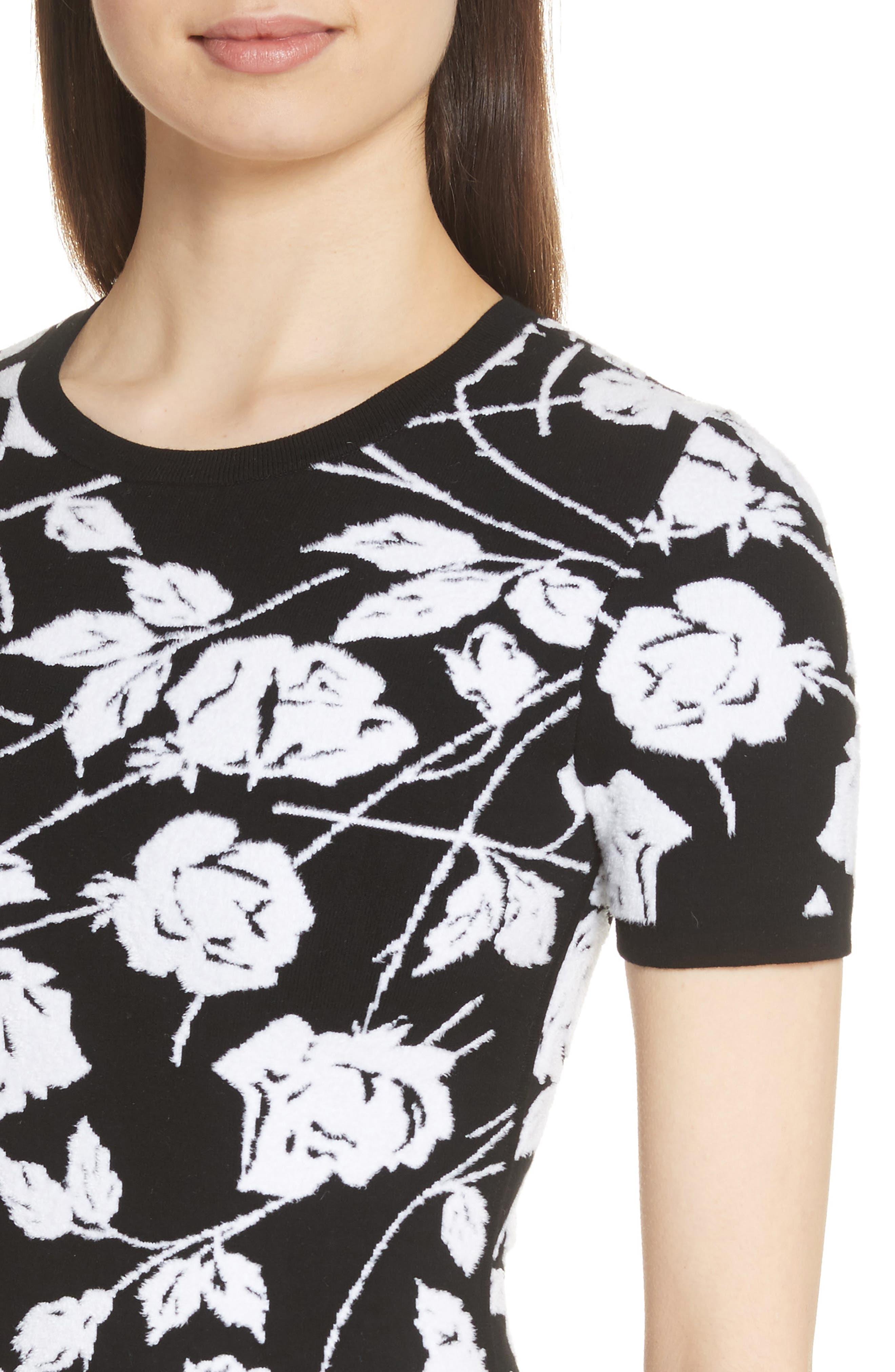 Stencil Rose Jacquard Dress,                             Alternate thumbnail 4, color,                             BLACK