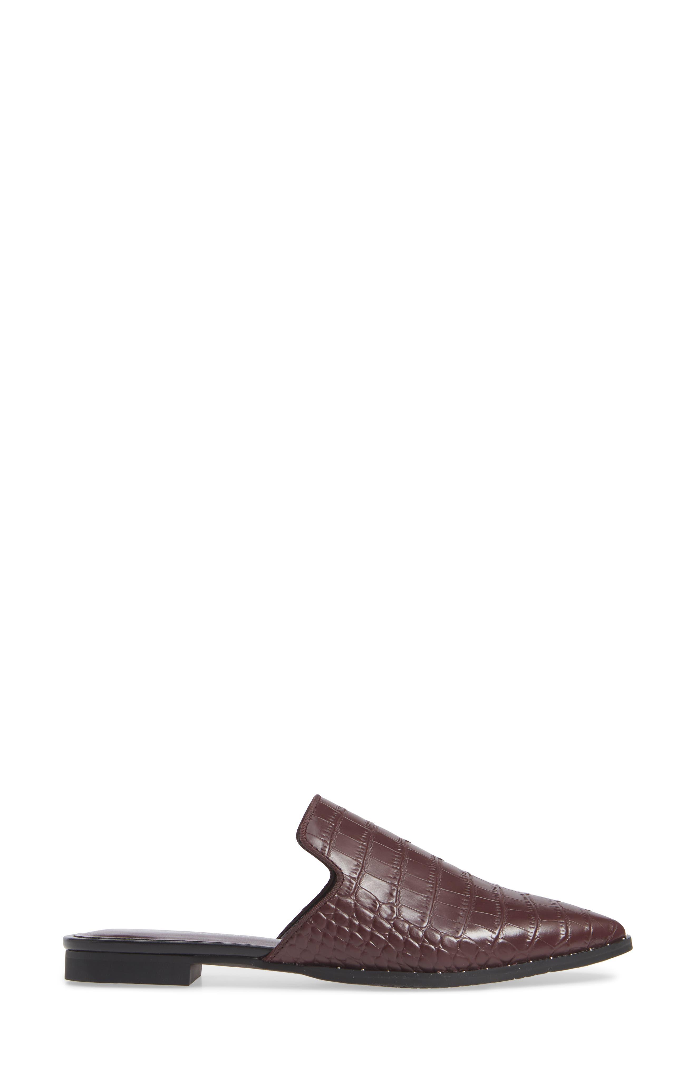 Keaton Loafer Mule,                             Alternate thumbnail 3, color,                             BURGUNDY EMBOSSED CROC